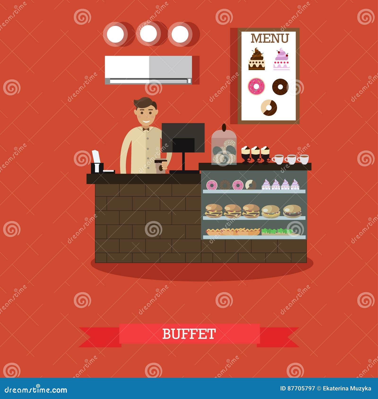 Illustration de vecteur de concept de buffet dans le style plat
