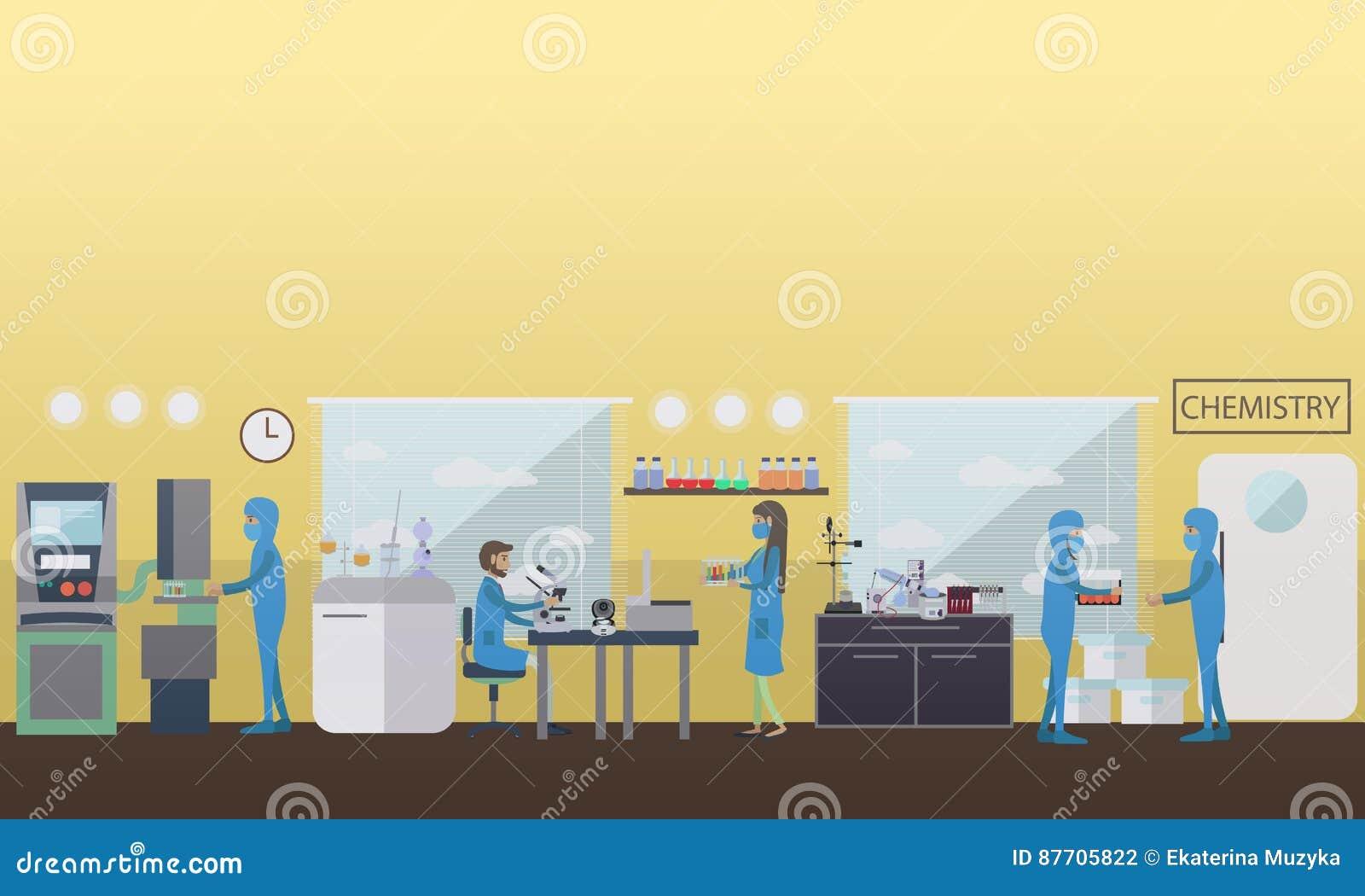 Illustration de vecteur de concept de chimie dans le style plat