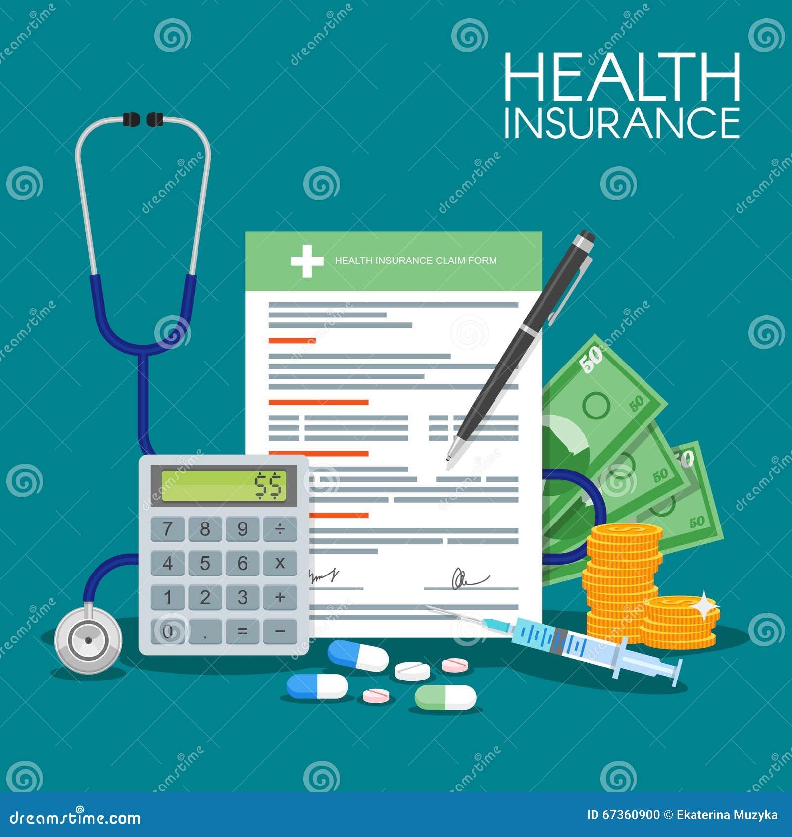 Illustration de vecteur de concept de forme d assurance médicale maladie Documents médicaux remplissants Stéthoscope, drogues, ar