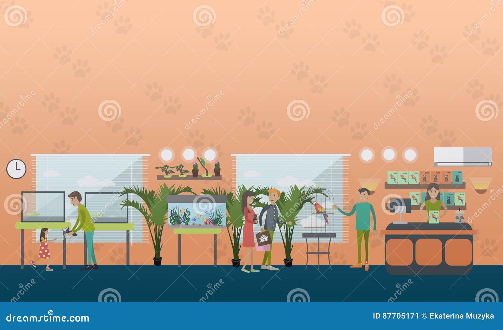 Illustration de vecteur de concept de magasin de bêtes dans le style plat