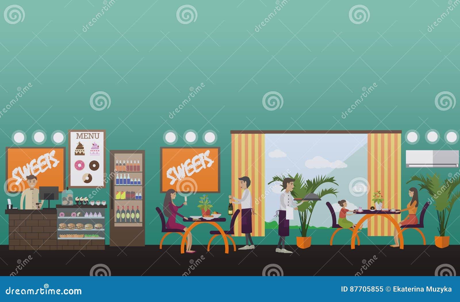 Illustration de vecteur de concept de restaurant dans le style plat