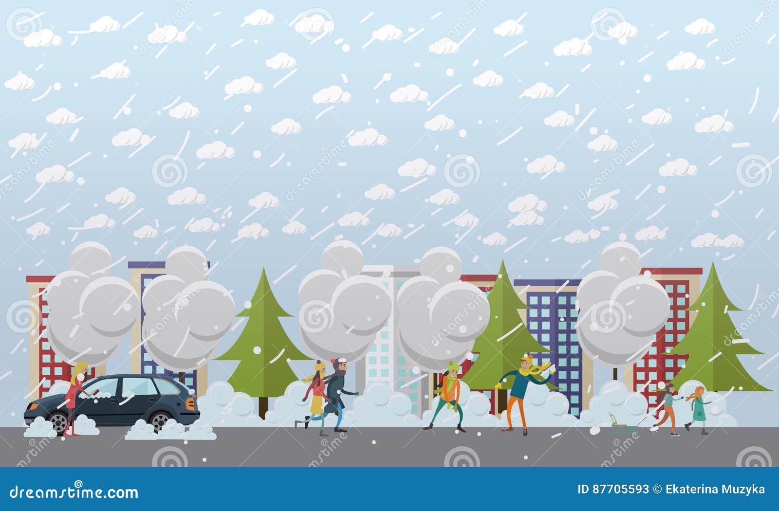 Illustration de vecteur de concept de tempête de neige dans le style plat