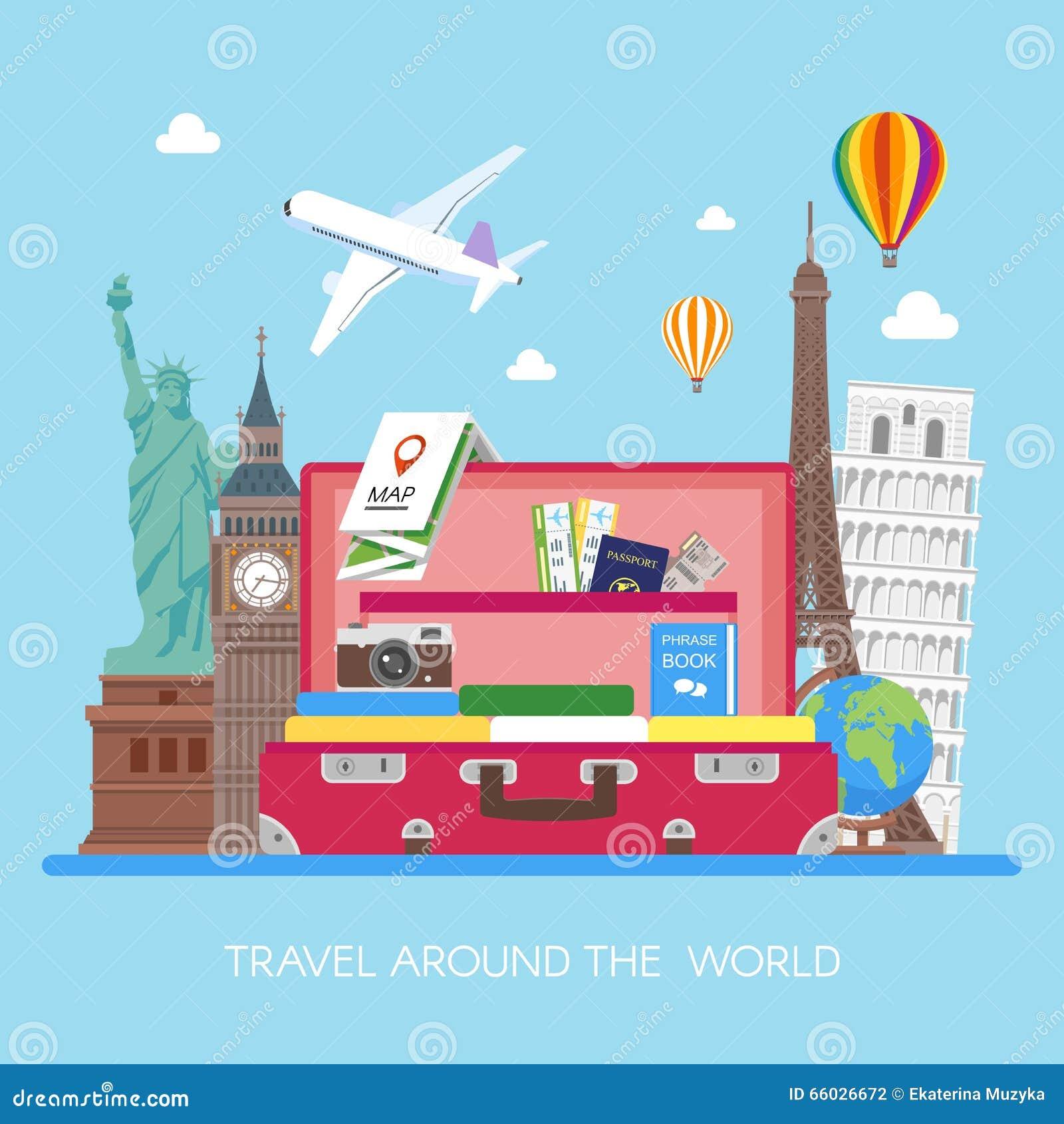 Illustration de vecteur de concept de voyage dans la conception plate de style Vol d avion au-dessus de bagage de touristes