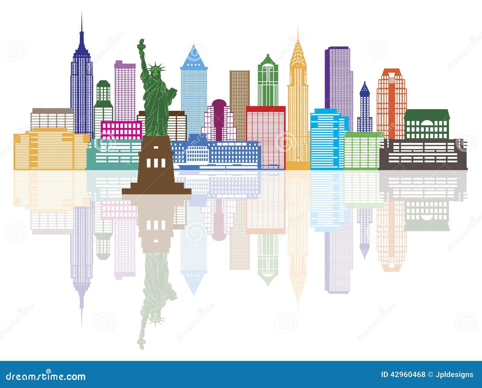 illustration de vecteur de couleur d 39 horizon de new york city illustration de vecteur image. Black Bedroom Furniture Sets. Home Design Ideas