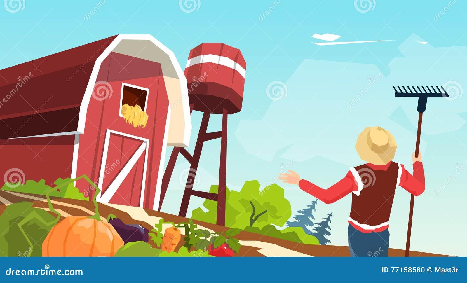 Illustration de vecteur de grange de Working On Farm d agriculteur