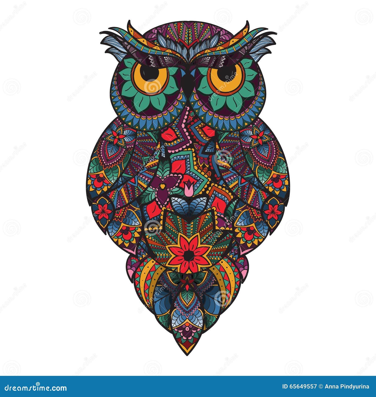 Illustration de vecteur de hibou ornemental Oiseau illustré dans le tribal Sur le blanc