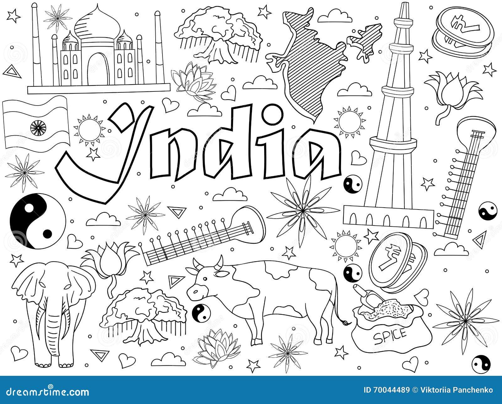 Illustration de vecteur de livre de coloriage d 39 inde illustration de vecteur illustration du - Coloriage inde ...
