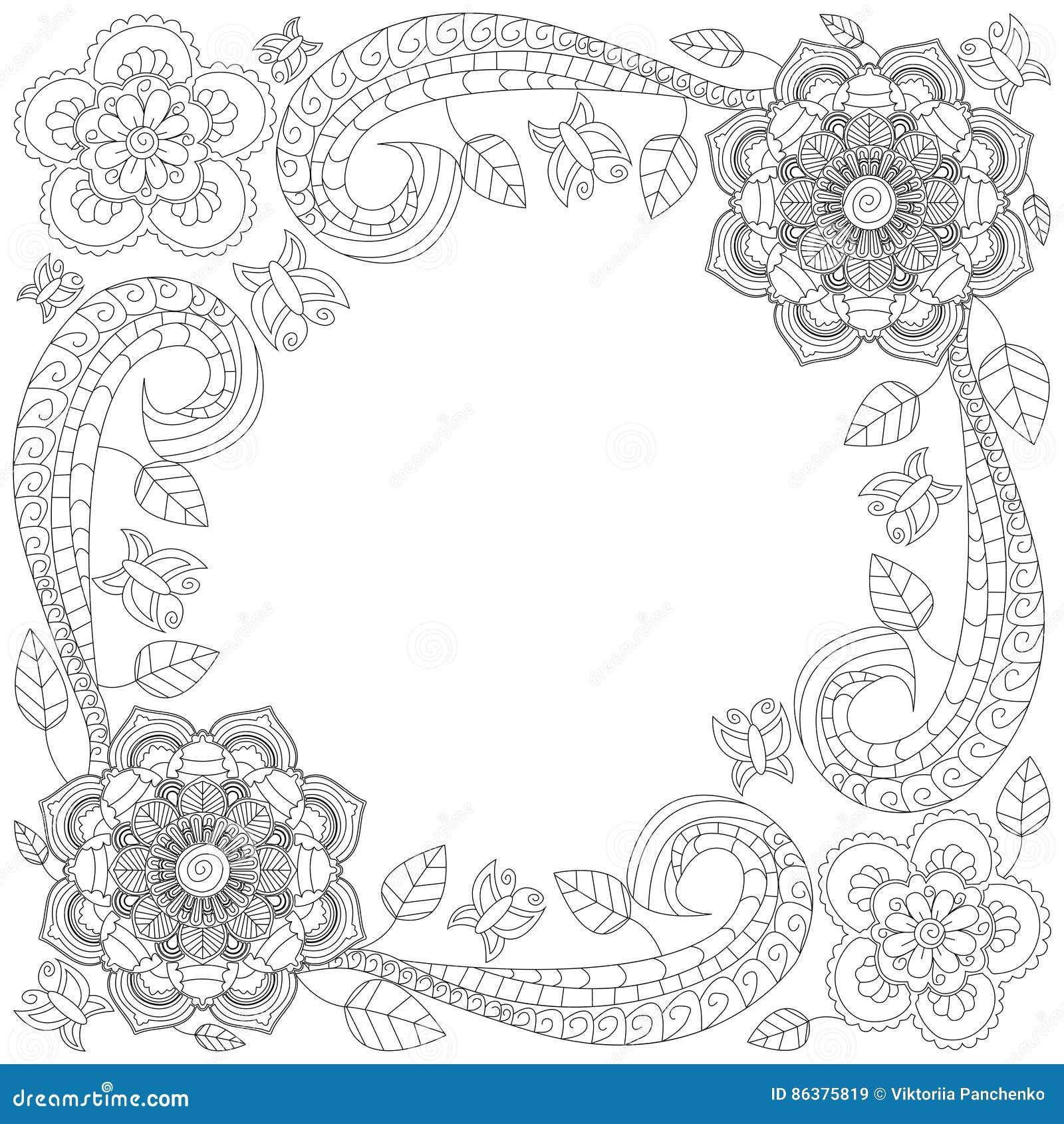 Coloriage Cadre Fleur.Illustration De Vecteur De Livre De Coloriage De Cadre De Fleur