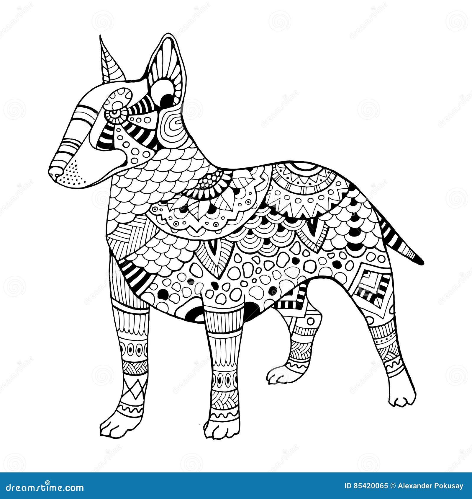 10 coloriages mandalas bull terrier - Coloriage de chien ...
