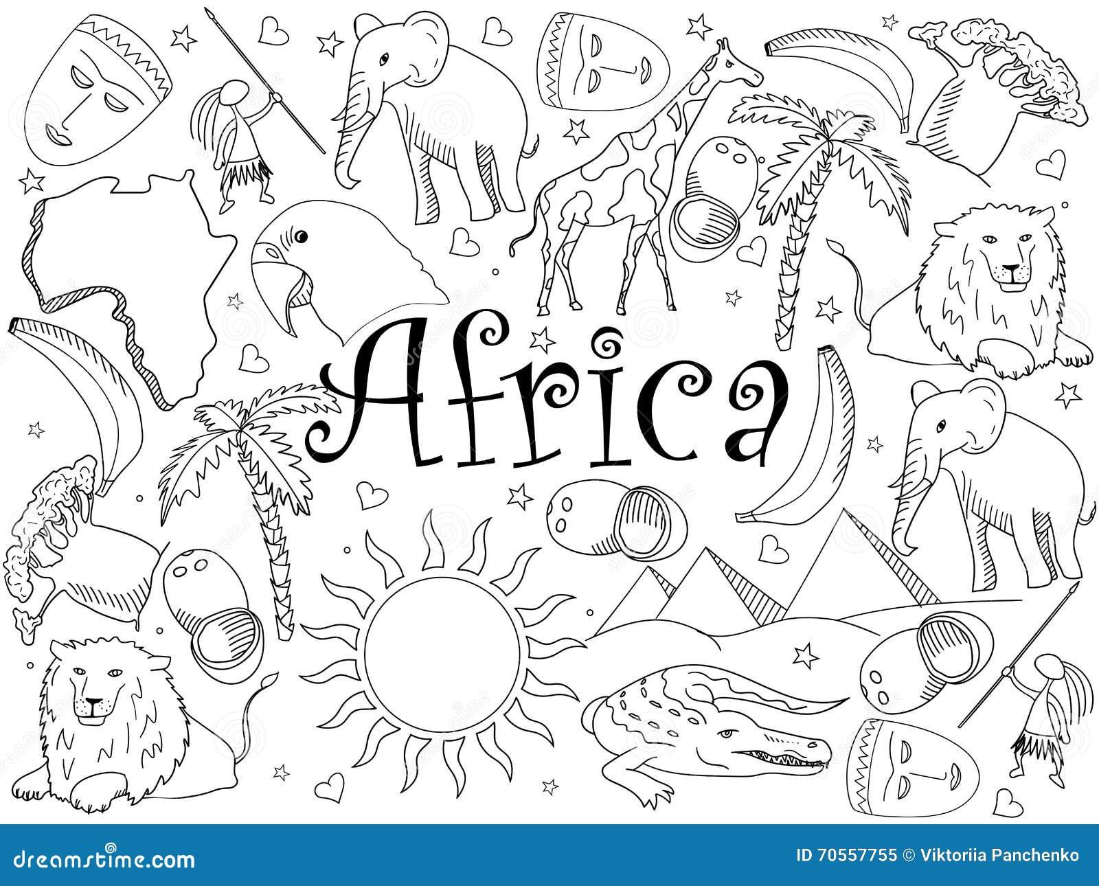 Coloriage Famille Africaine.Illustration De Vecteur De Livre De Coloriage De L Afrique