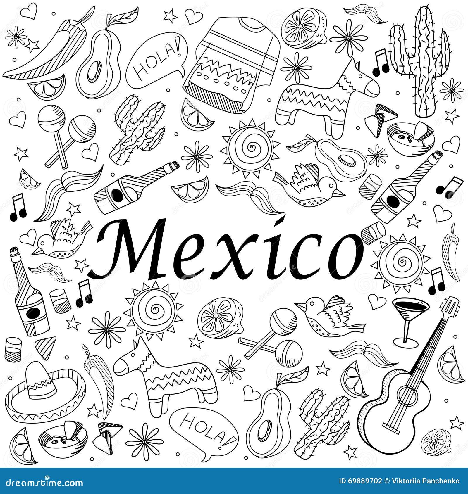 Illustration de vecteur de livre de coloriage du mexique illustration de vecteur illustration - Dessin du mexique ...