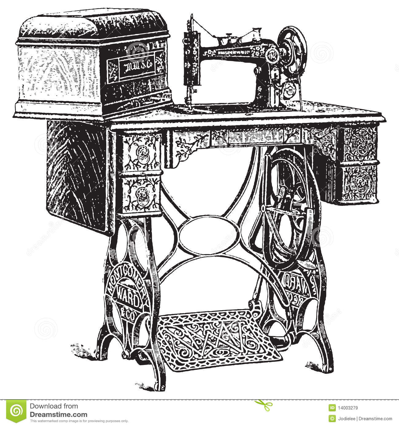 Illustration de vecteur de machine coudre antique images libres de droits image 14003279 - Machine a coudre dessin ...