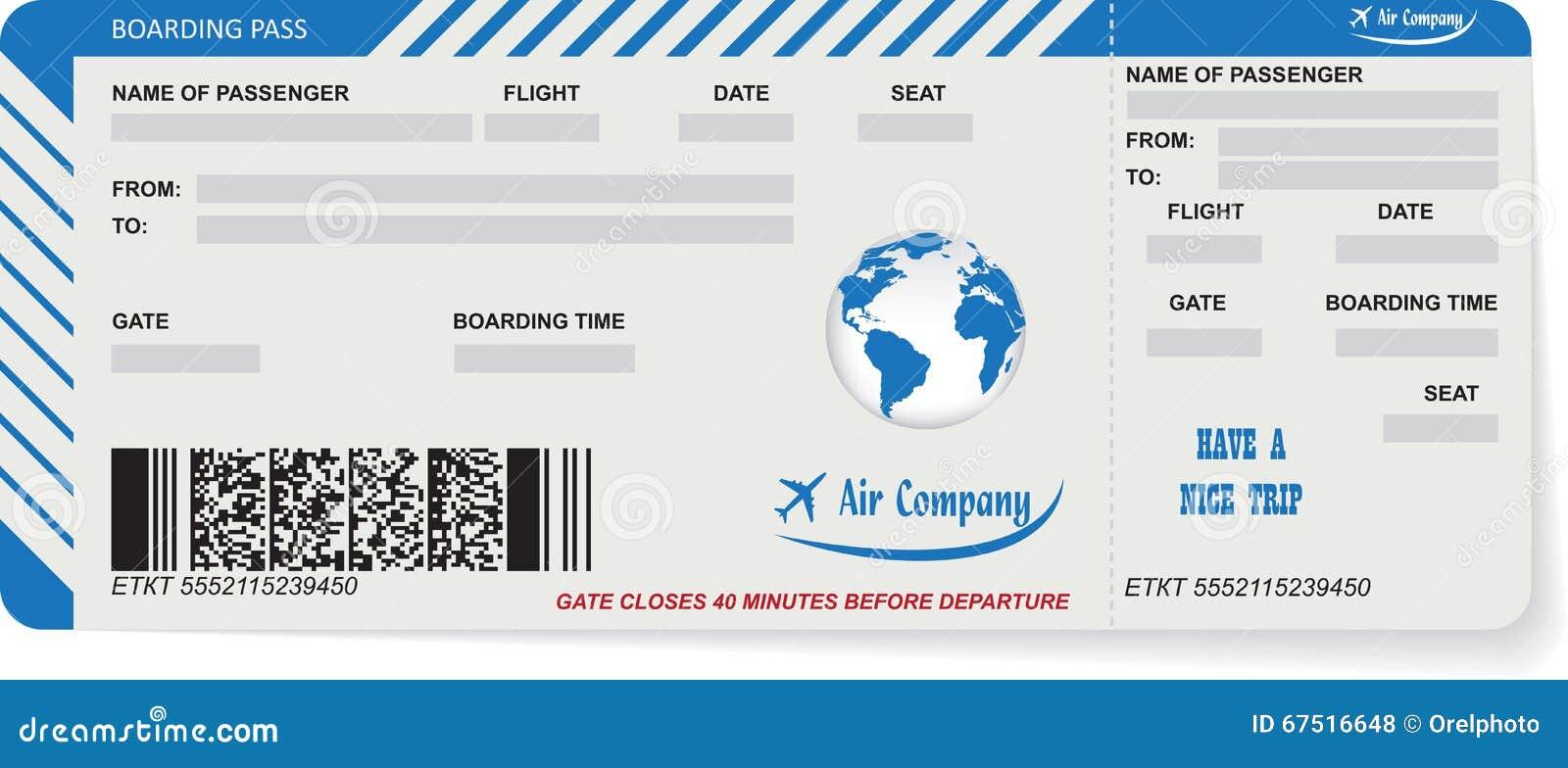 Illustration de vecteur de mod le de carte d 39 embarquement - Modele billet avion a imprimer ...