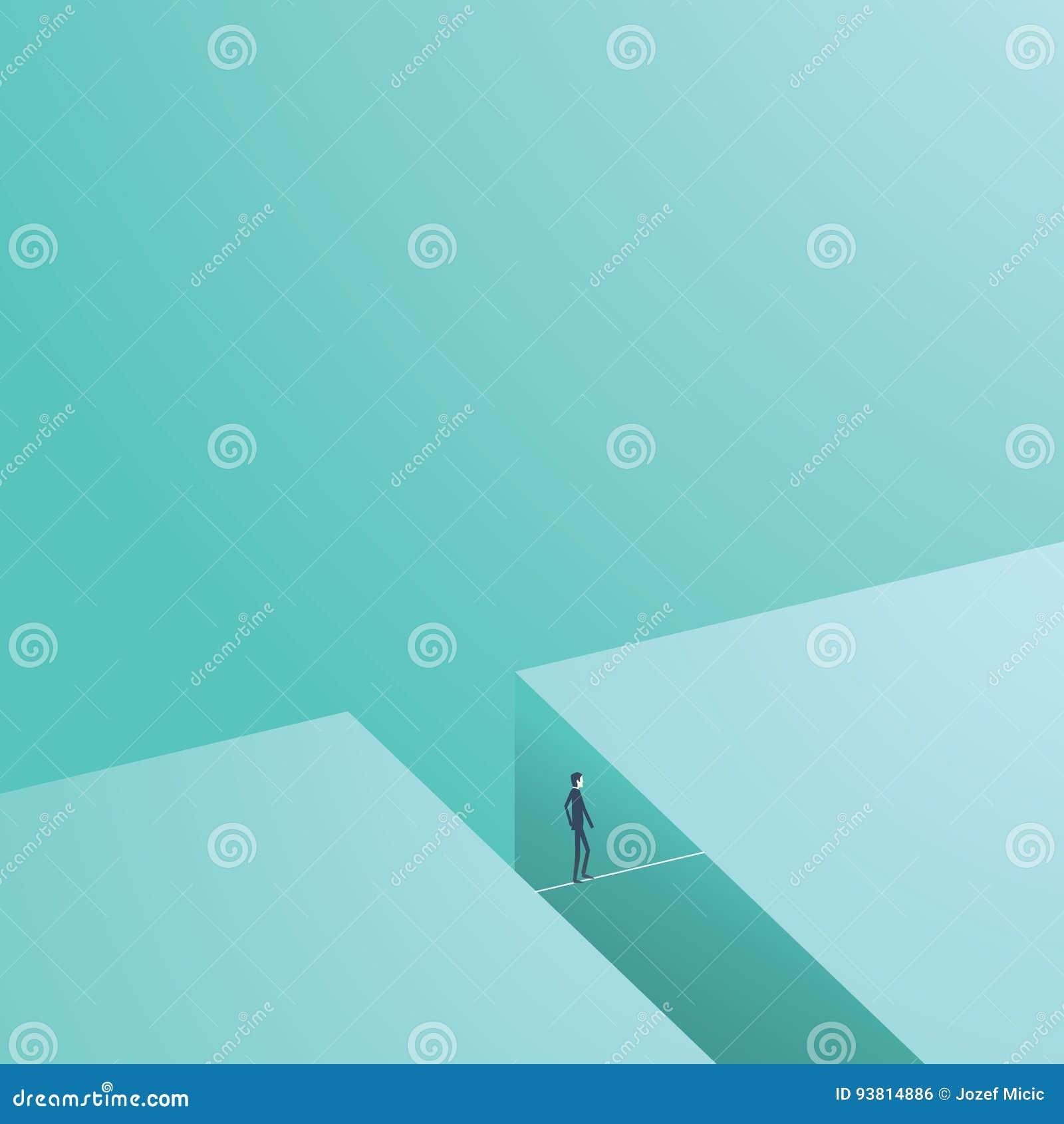 Illustration de vecteur de risque commercial et de concept de défi Businesmsan marchant sur la corde raide comme symbole du coura