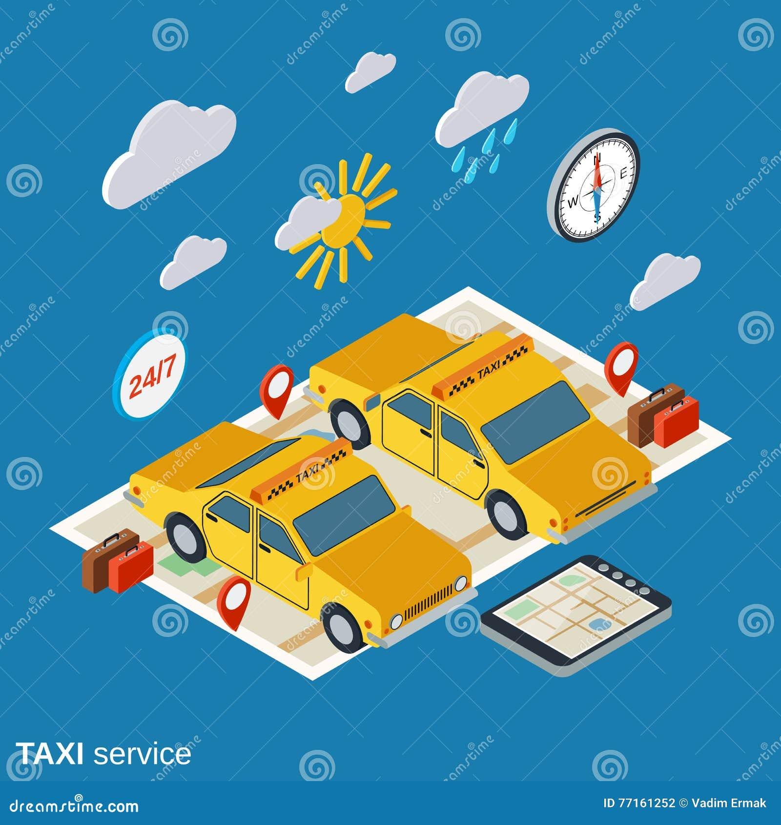 Illustration de vecteur de service de taxi