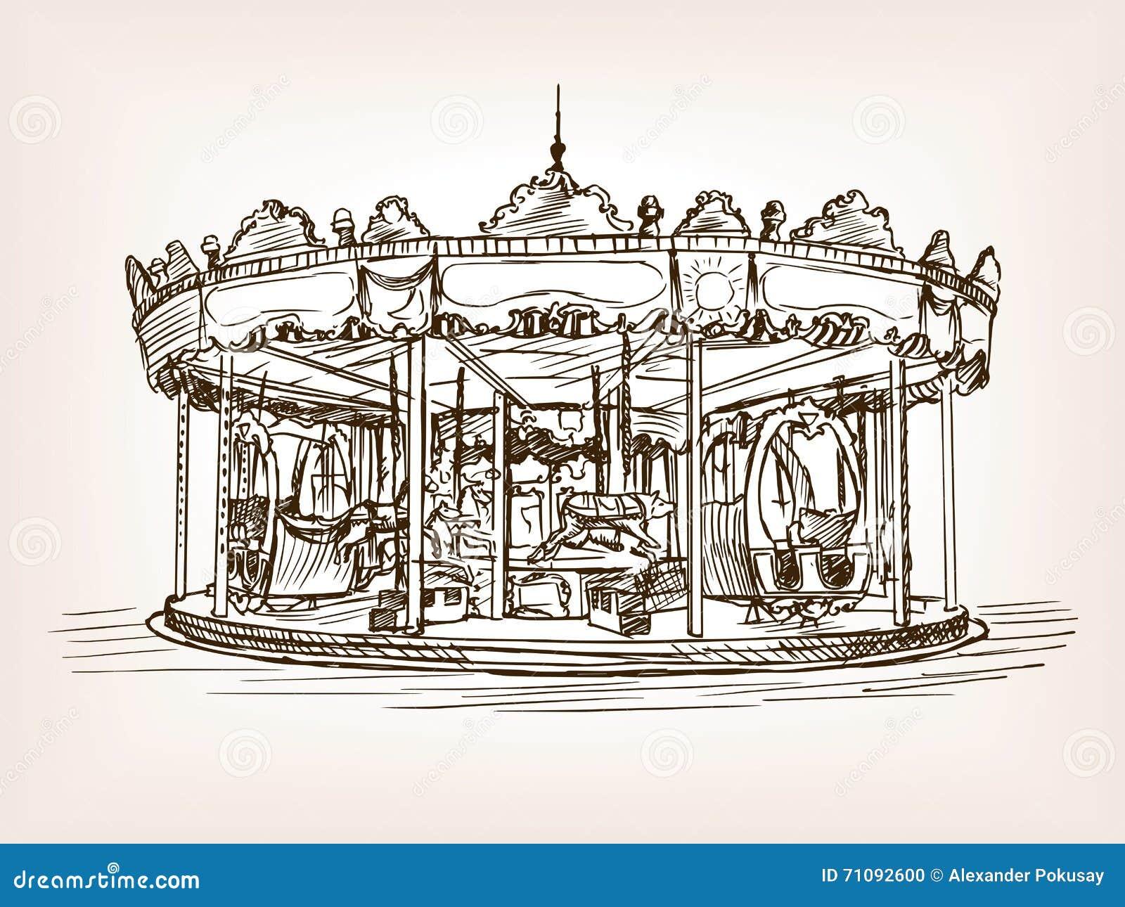Carrousel Dessin illustration de vecteur de style de croquis de carrousel d'enfants