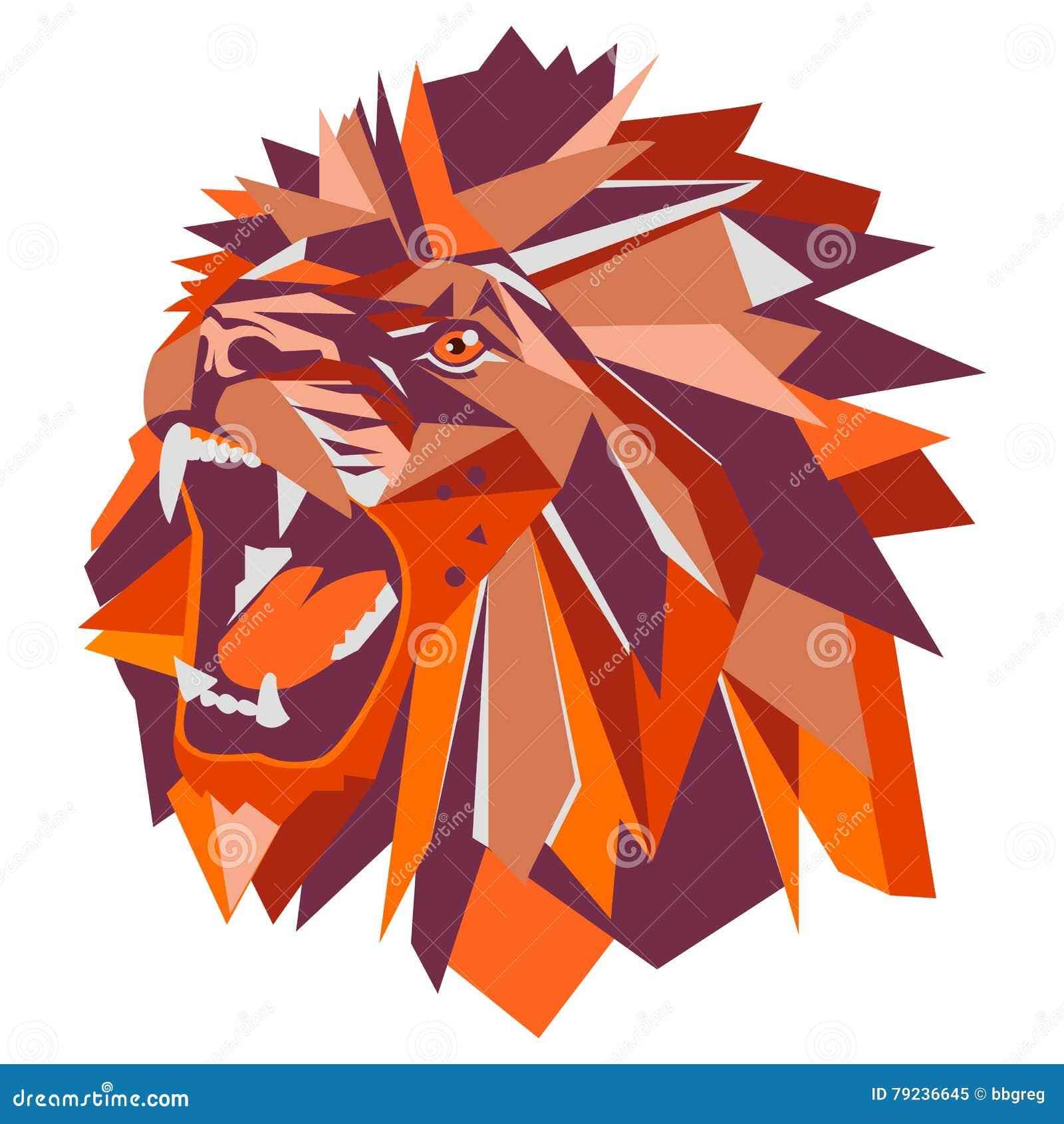 Illustration De Vecteur De Tête Géométrique De Lion Illustration De