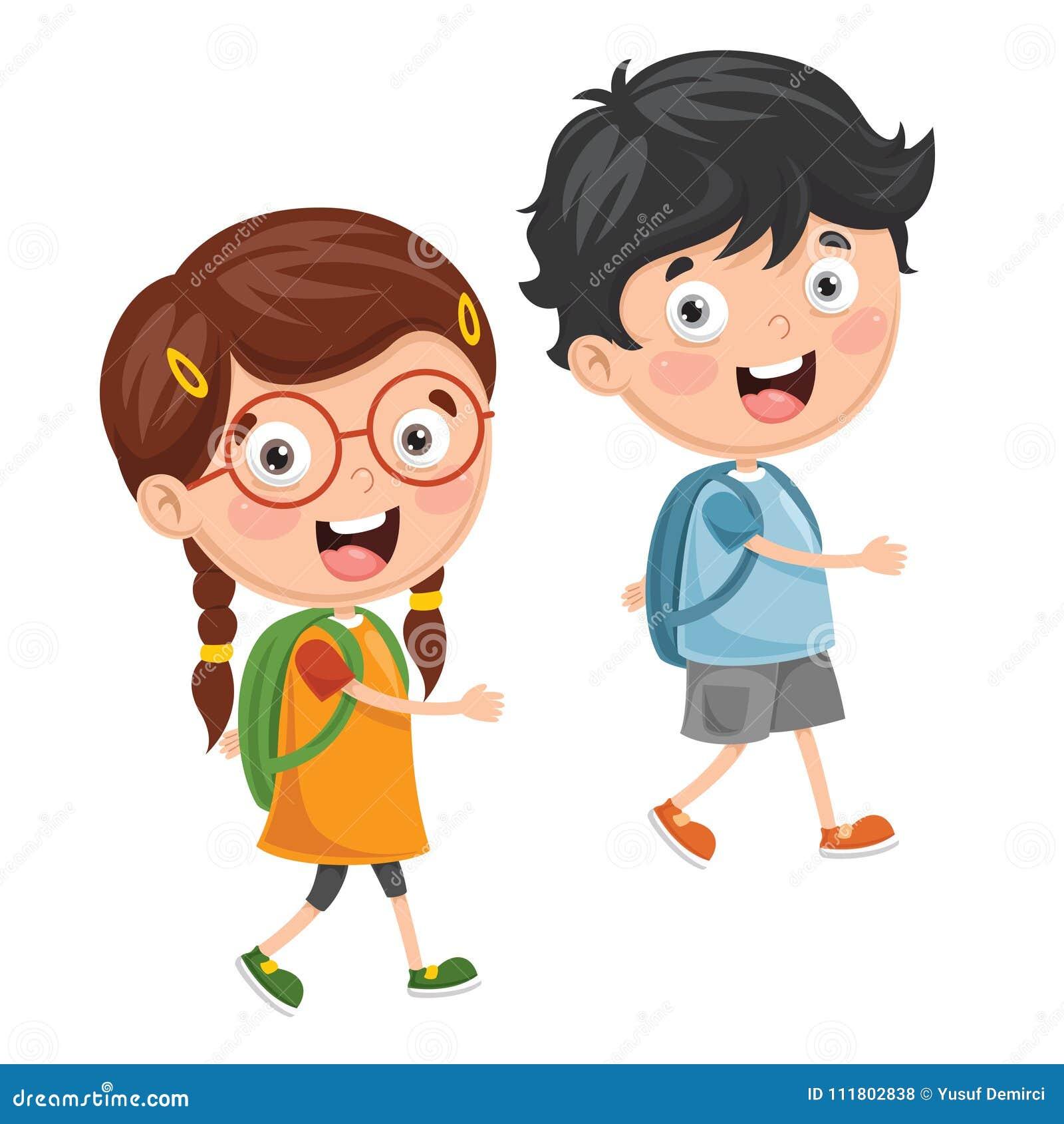 Illustration de vecteur des enfants allant à l école