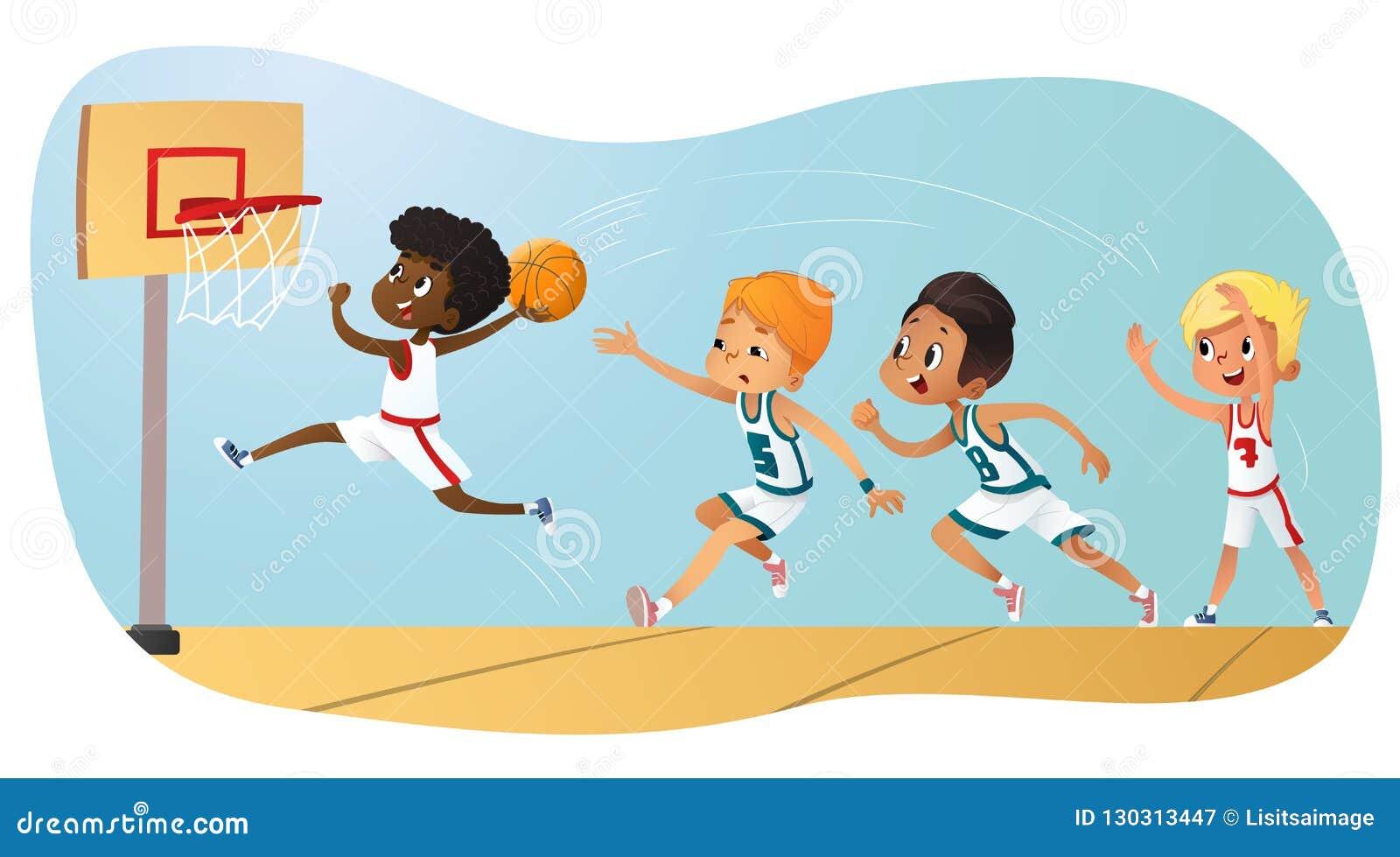 Illustration de vecteur des enfants jouant le basket-ball Team Playing Game Concurrence d équipe