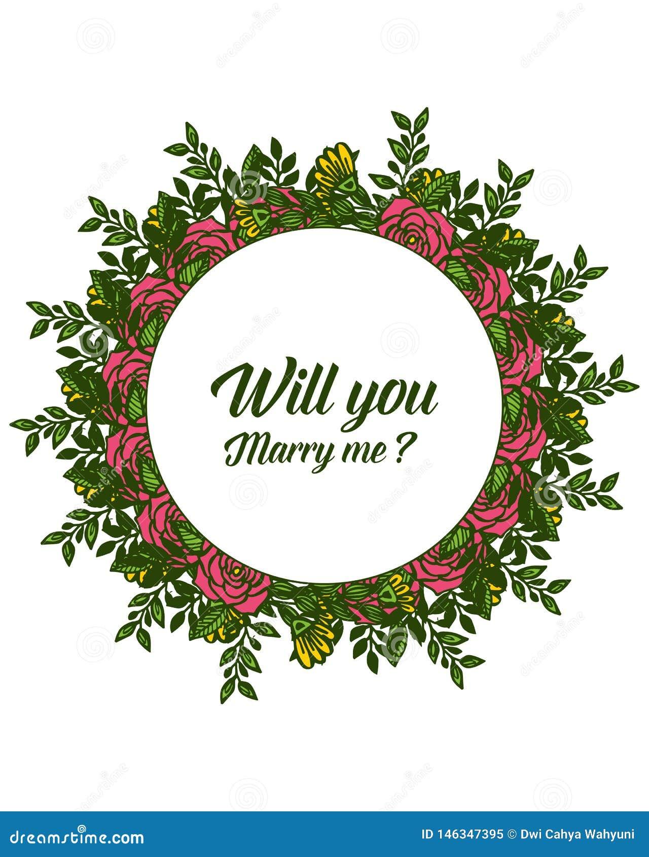 Illustration de vecteur diverse des fleurs roses de cadres de fleur pour la banni?re vous m ?pouserez