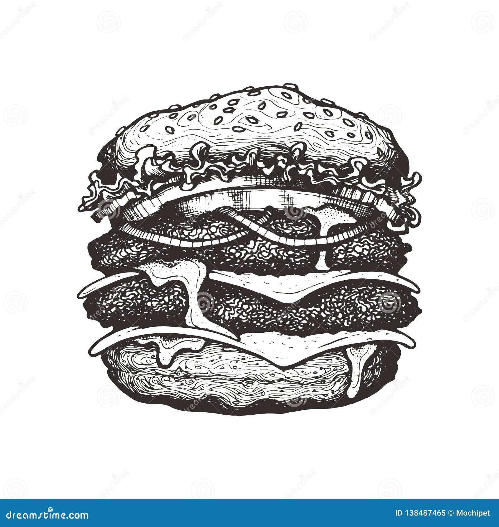 Illustration de vecteur Double cheeseburger avec du fromage, la tomate, l oignon et la laitue Grand hamburger de boeuf avec des l