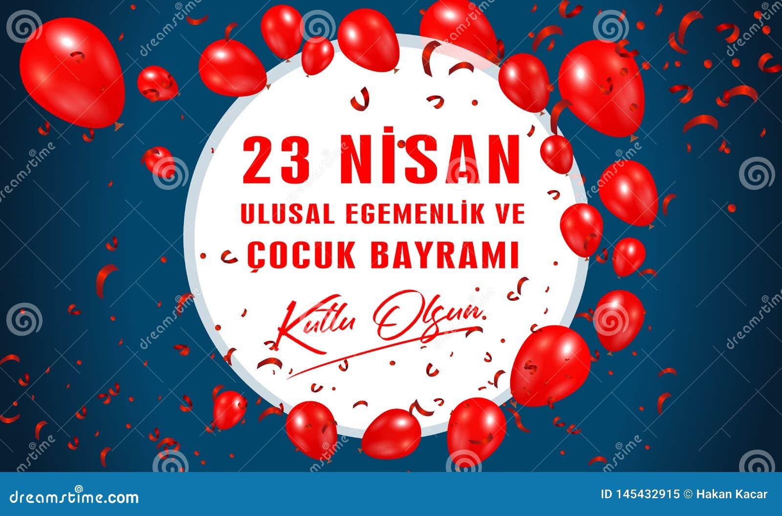 Illustration de vecteur du bayrami 23 de cocuk nisan, traduction : La souverainet? nationale du 23 avril turc et le jour des enfa