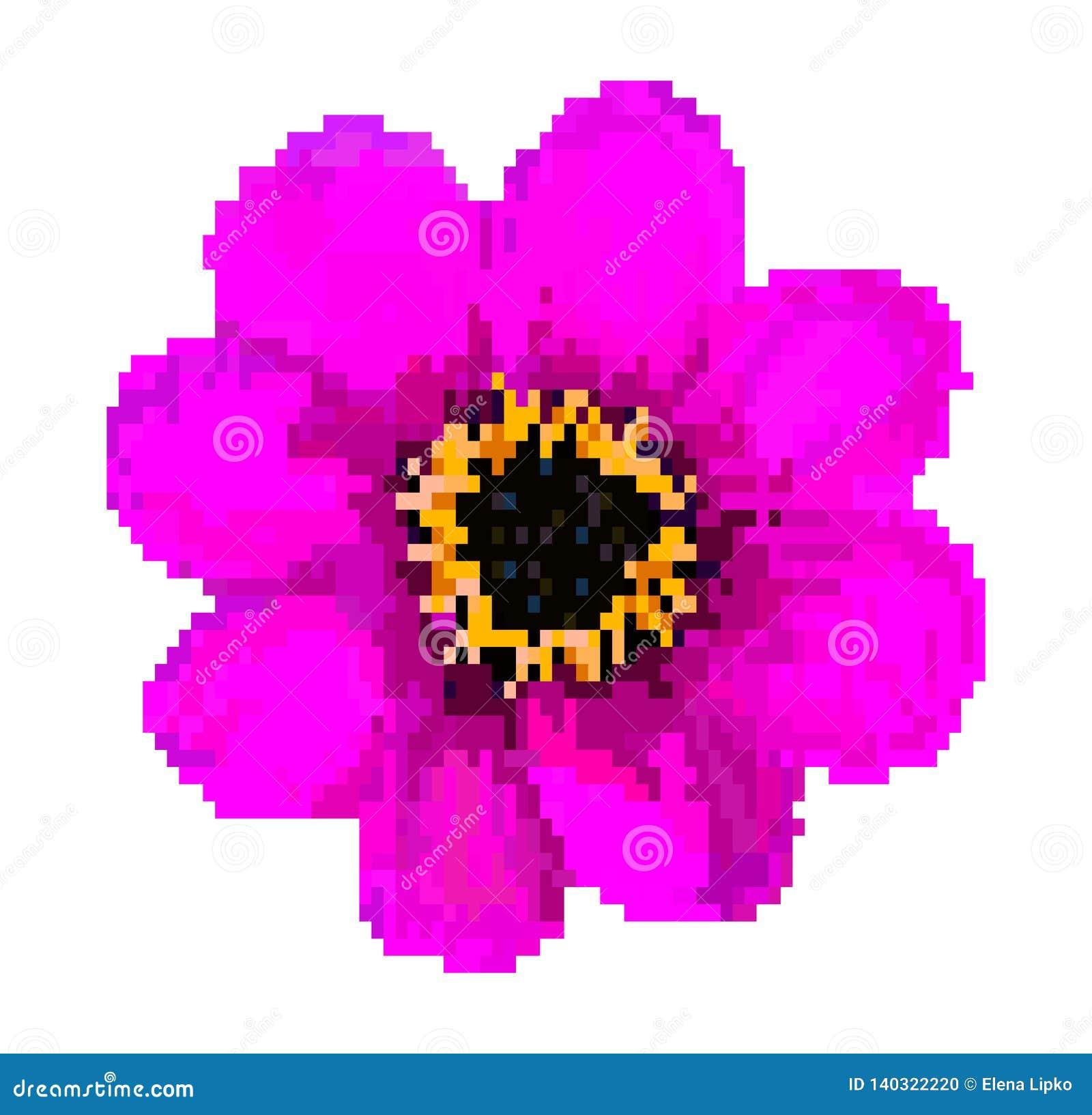 Illustration De Vecteur De Fleur De Gisement De Pixel D