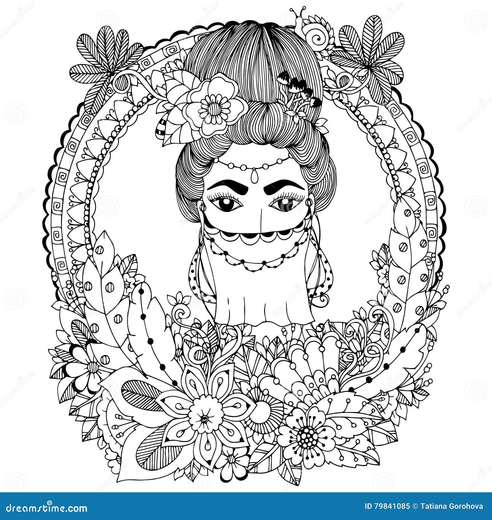 illustration de vecteur gribouillez la femme orientale de dessin dans le cadre floral anti. Black Bedroom Furniture Sets. Home Design Ideas