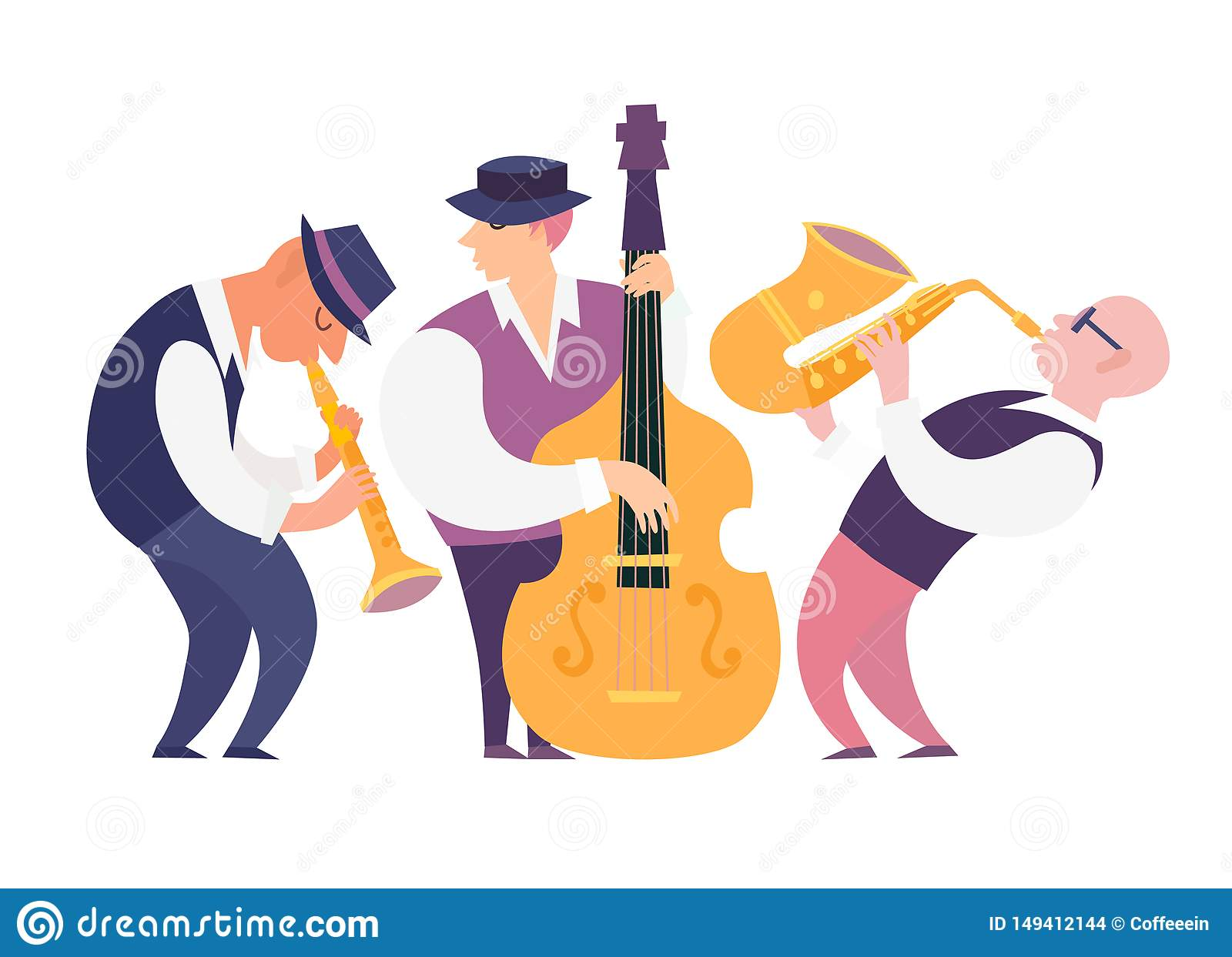 Illustration de vecteur de groupe de musiciens de jazz de bande dessinée : contrabassist, saxophone et clarinette