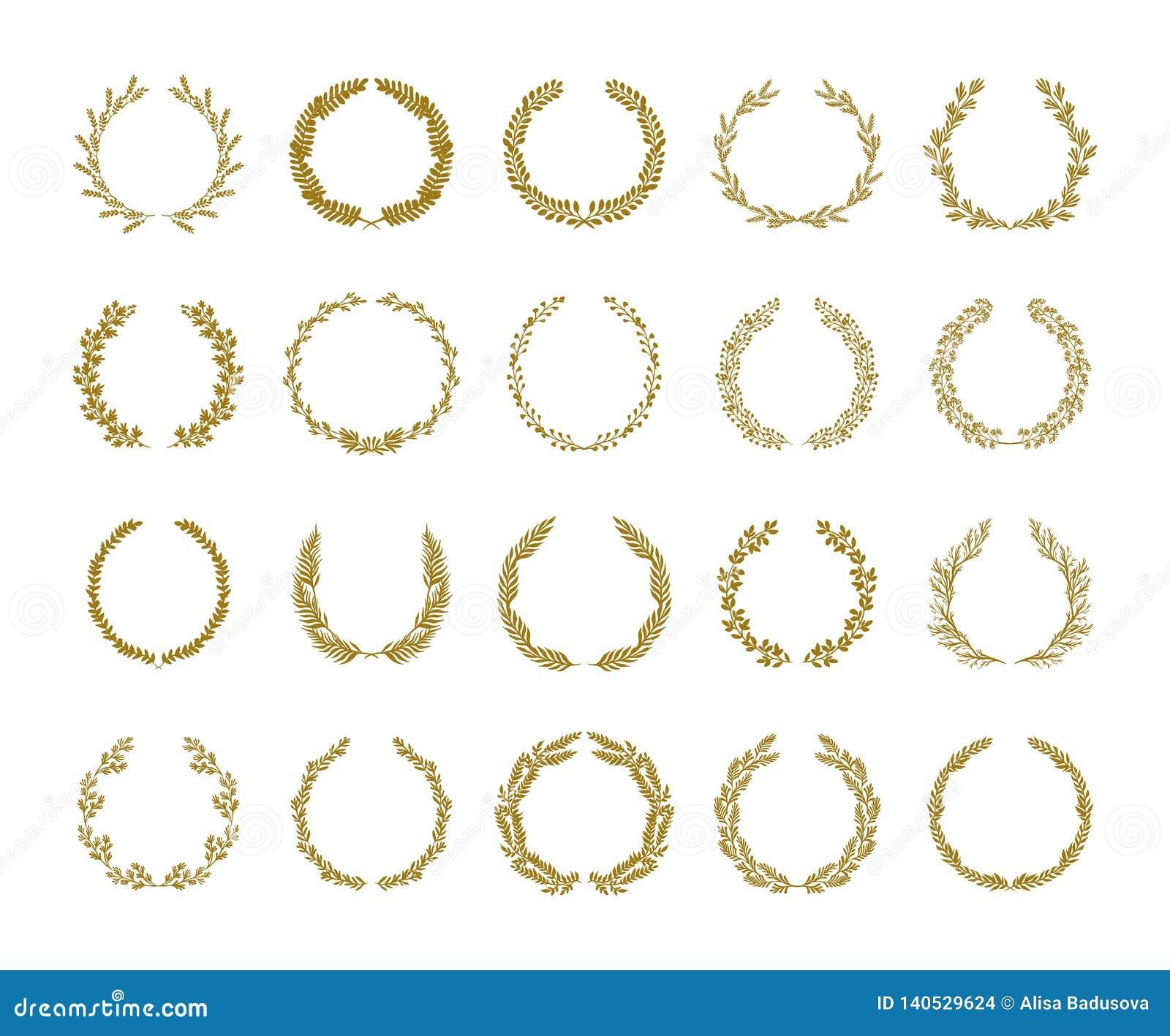 Illustration de vecteur de guirlande de feuillage de laurier d or réglée sur le fond blanc