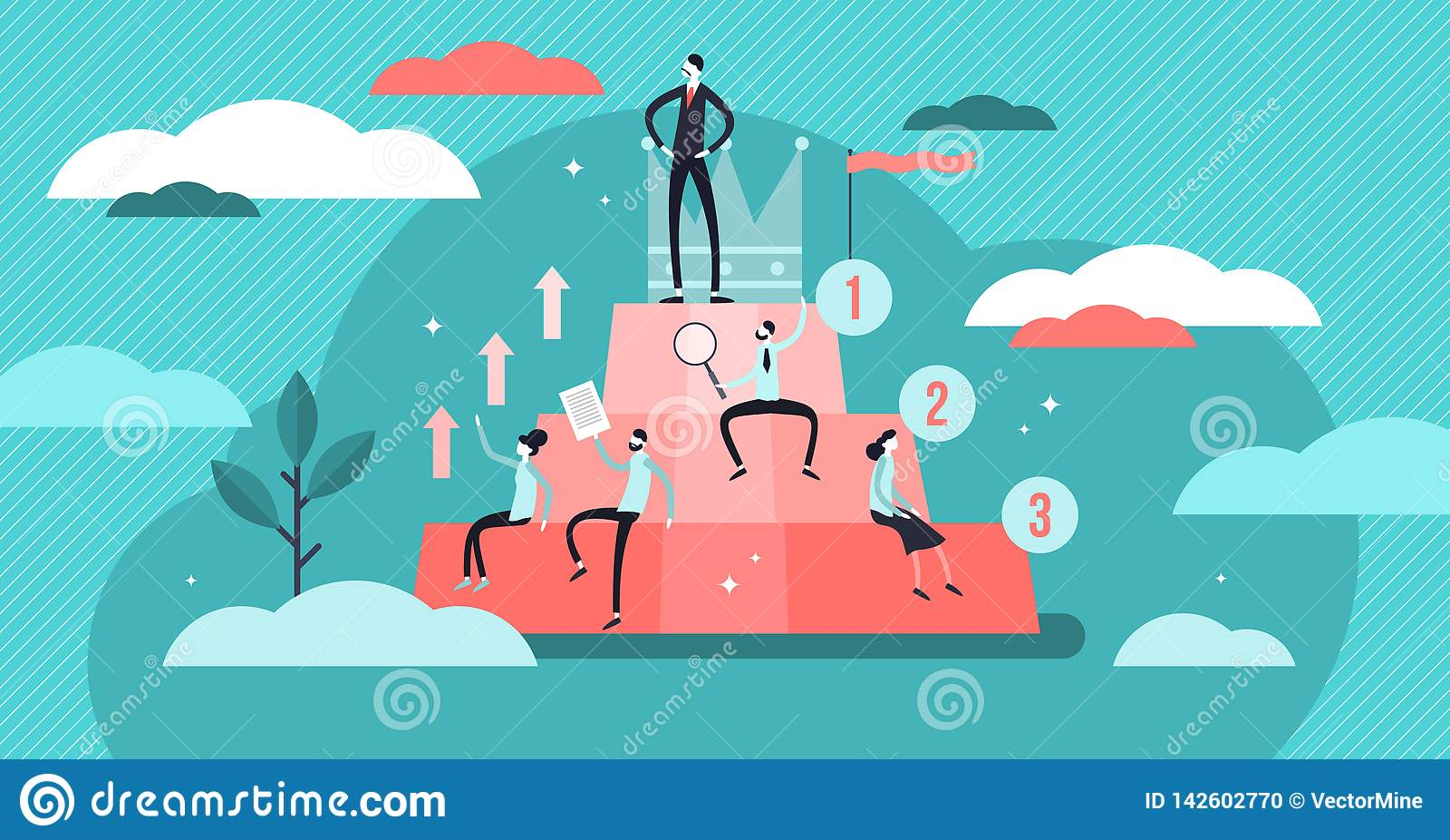 Illustration de vecteur de hiérarchie Concept minuscule plat de développement social de personnes