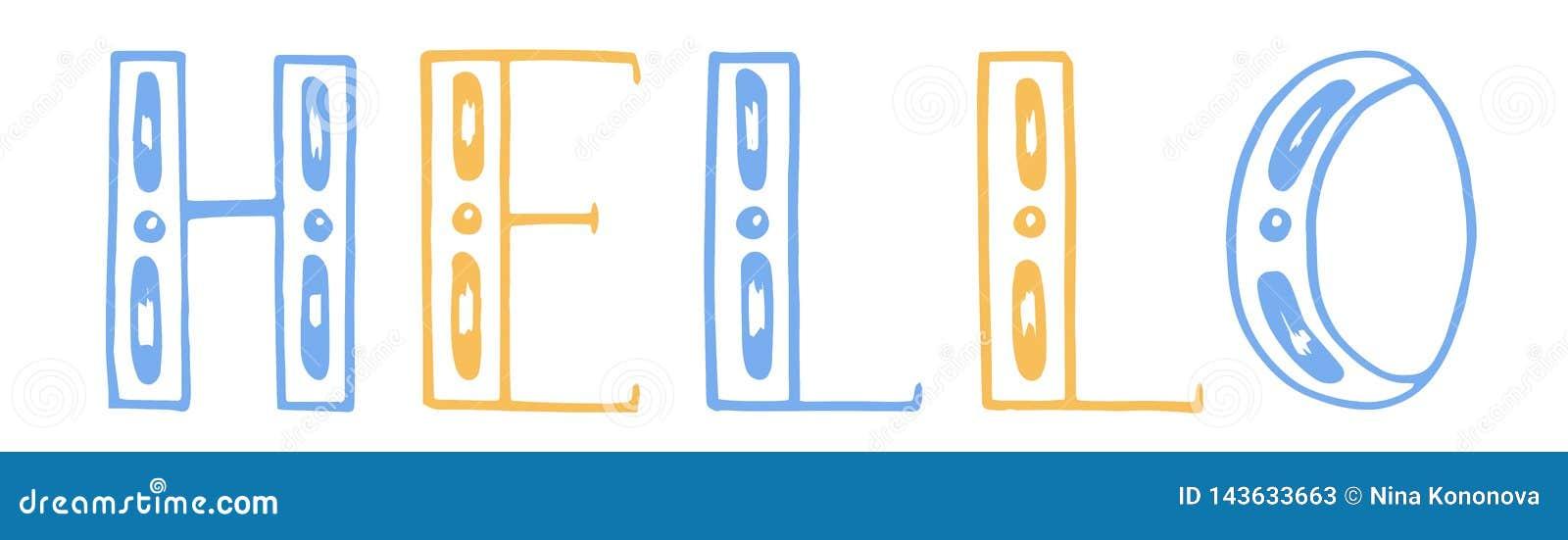 Illustration de vecteur lettrage d aspiration de main de couleur bonjour Fond blanc Jaune et bleu