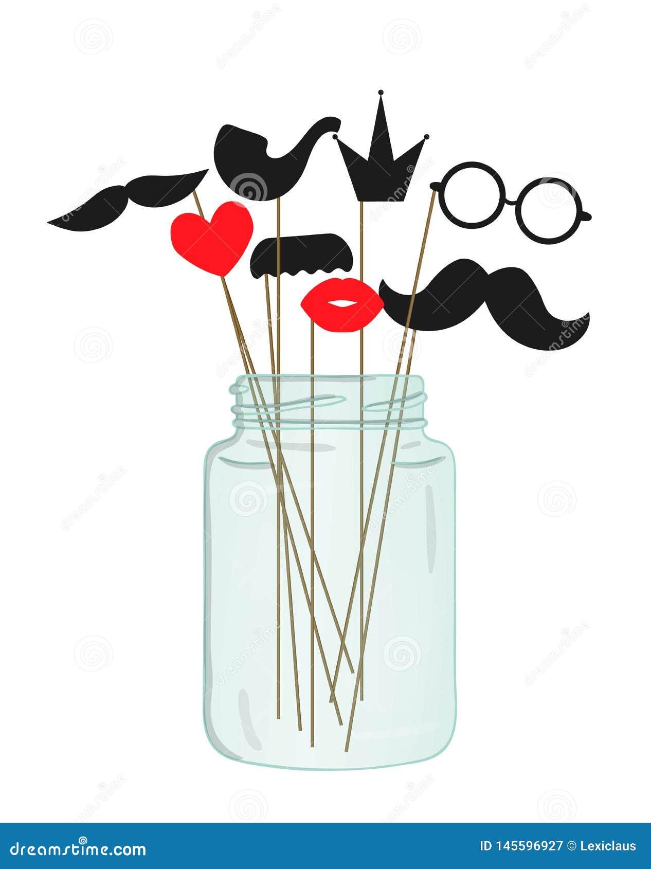 Illustration de vecteur de moustache, verres, lèvres, coeur, couronne, tuyau sur le bâton dans un pot en verre