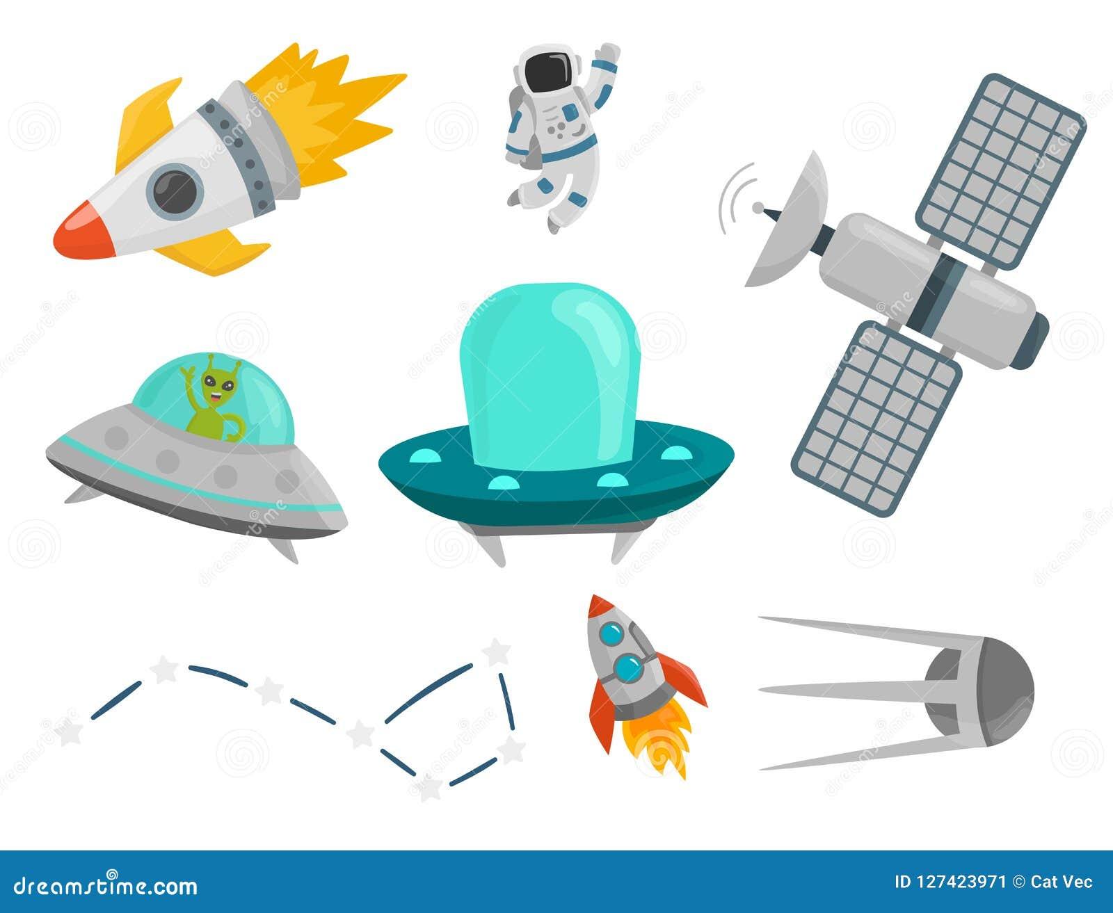 Illustration de vecteur navette de fusée de cosmonaute de vaisseau spatial d exploration de vaisseau spatial de planètes d atterr