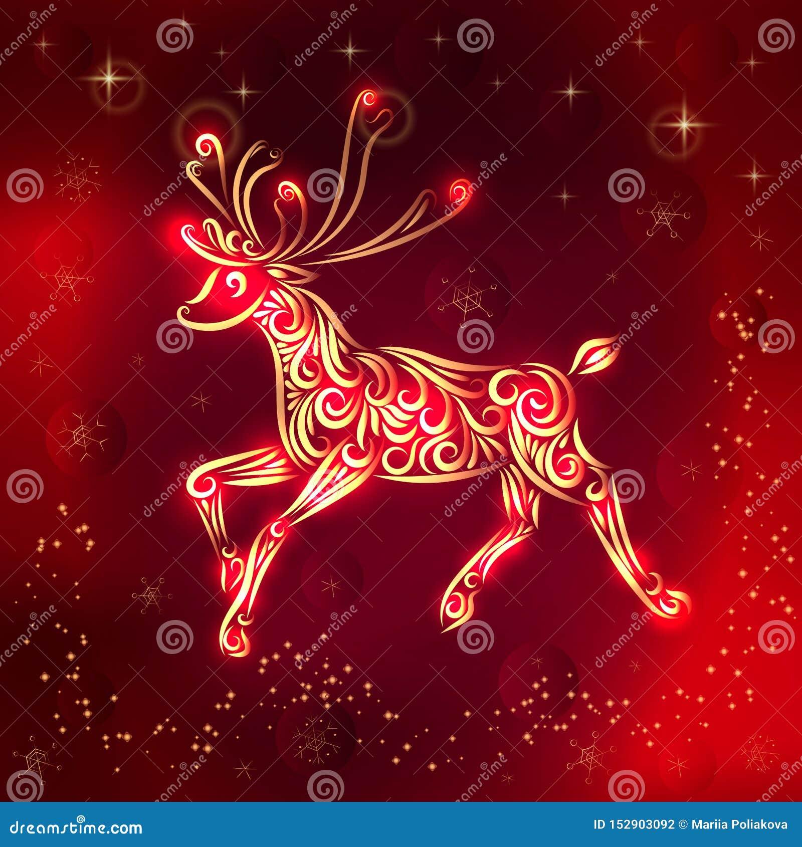 Illustration de vecteur de Noël d un renne dans des couleurs de rouge-or Invitation d an neuf F?licitations les vacances Silhouet