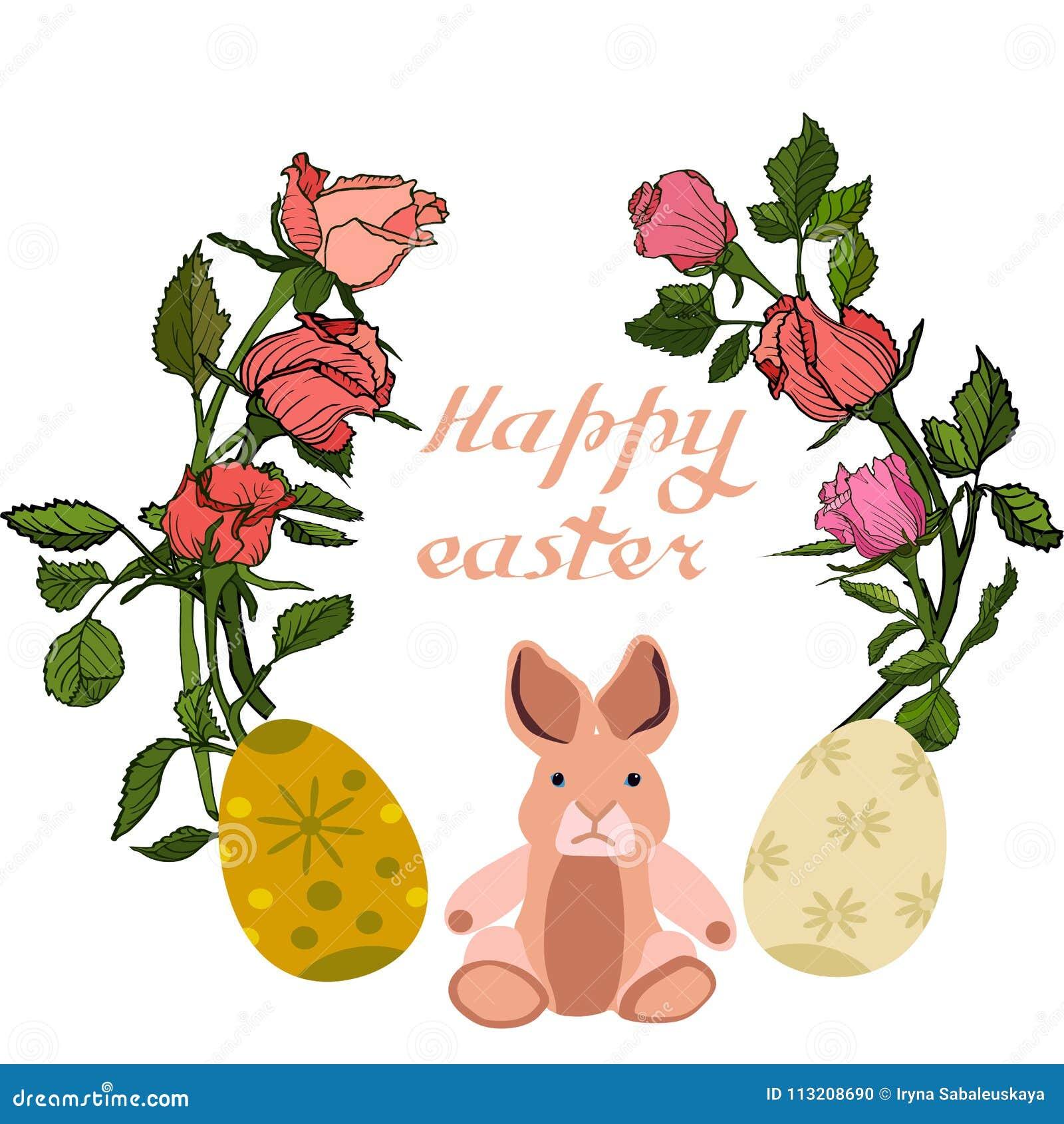 Illustration de vecteur de Pâques avec des oeufs, des fleurs roses et des lapins Excellent pour la conception des cartes postales