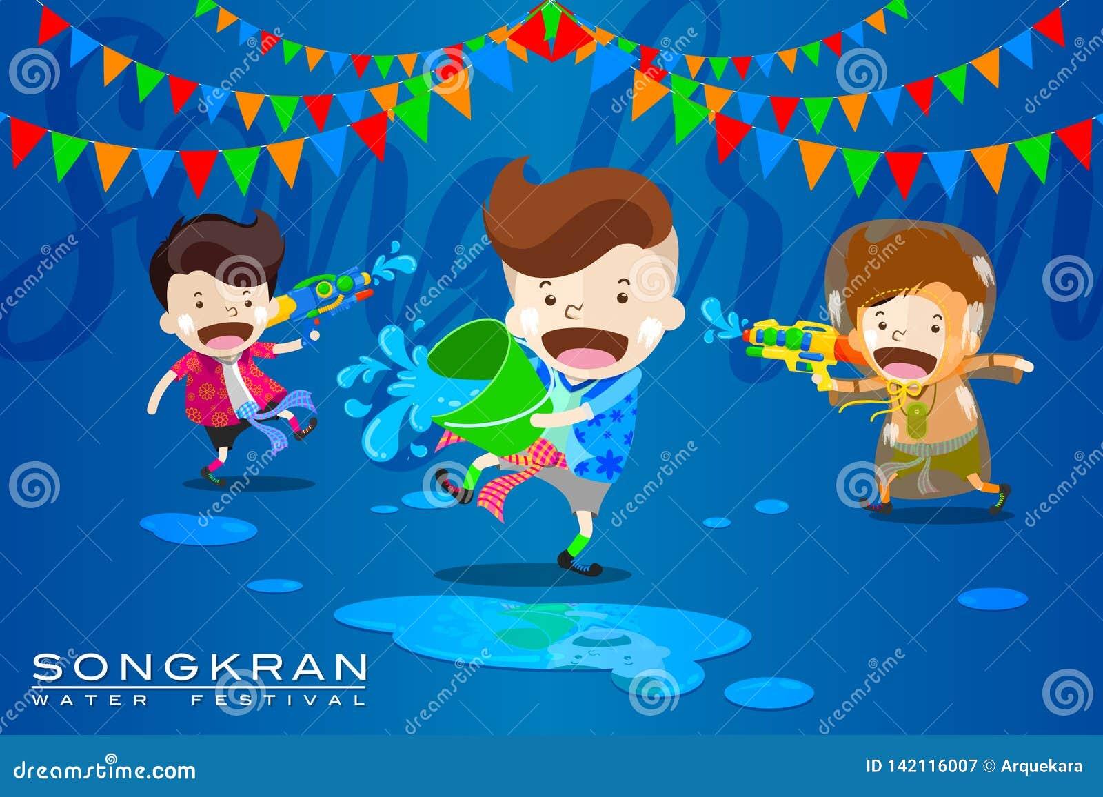 """Illustration de vecteur pour le  d """"Songkran†ou le  de Festival†d """"Water en Thaïlande et beaucoup d autres pays en Asie"""