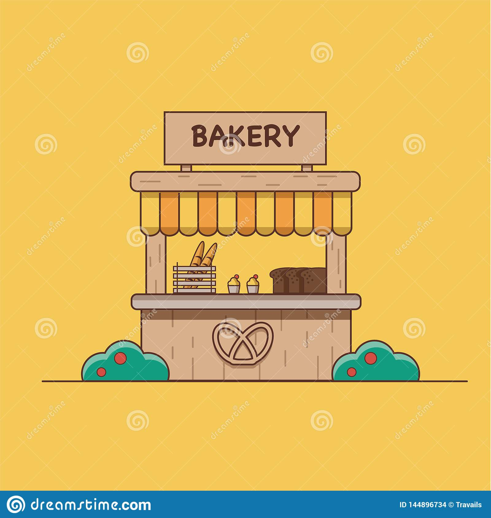 Illustration de vecteur qui dépeint une boulangerie sur un fond orange