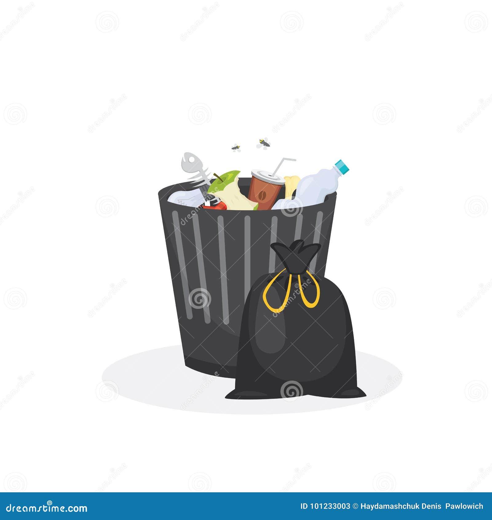 Illustration de vecteur de récipient de déchets de poubelle dans le style de bande dessinée