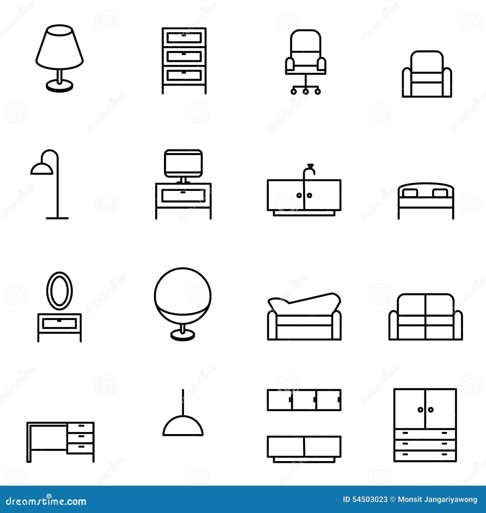 Illustration de vecteur réglée par icônes de meubles