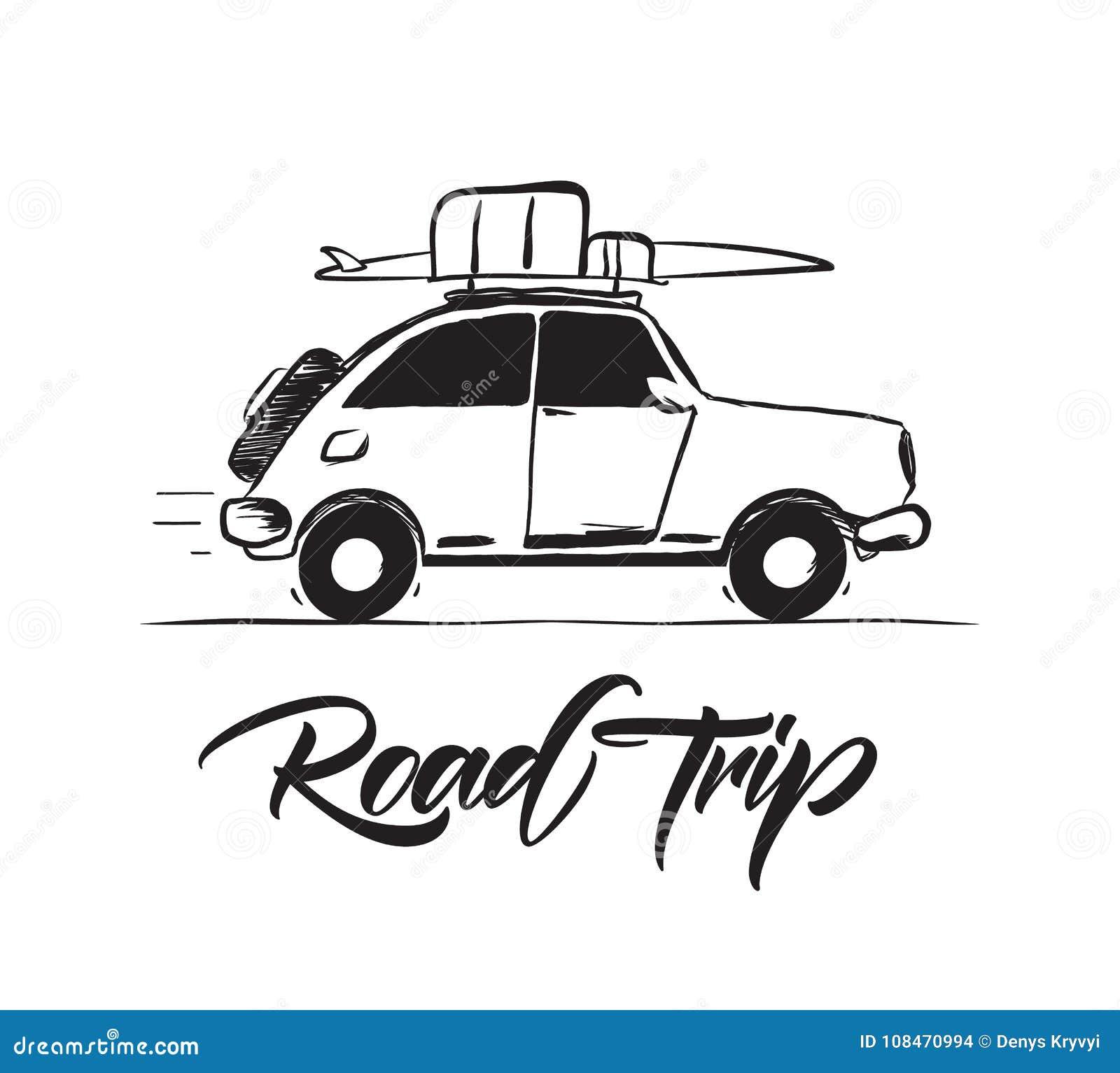 Illustration de vecteur : Rétro voiture de voyage tiré par la main avec des bagages et planche de surf sur le toit lettrage de vo