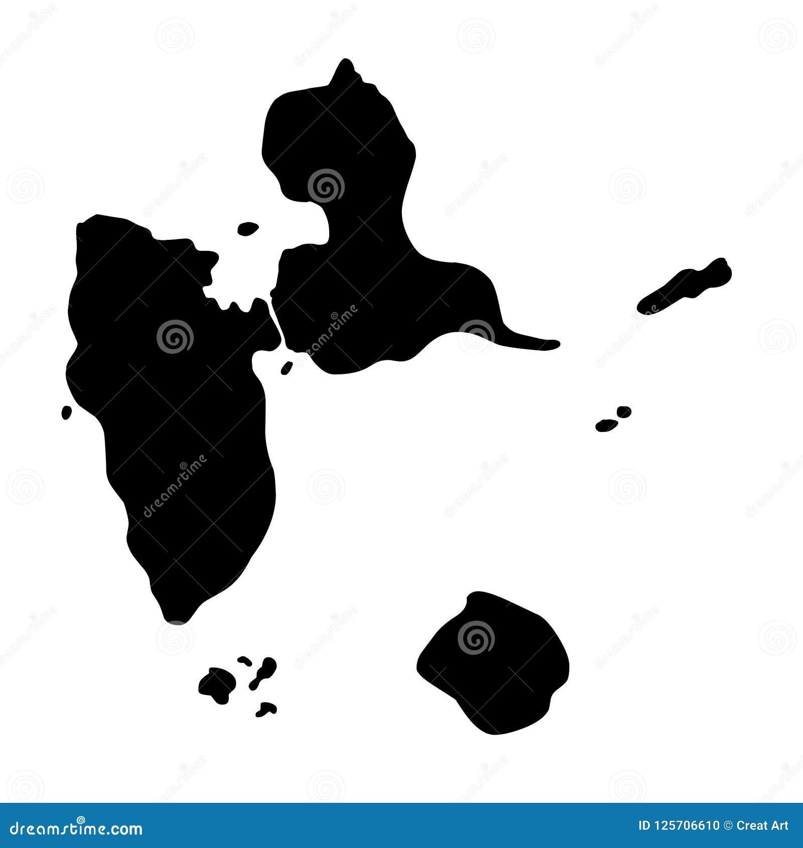 Carte Guadeloupe Noir Et Blanc.Illustration De Vecteur De Silhouette De Carte De La