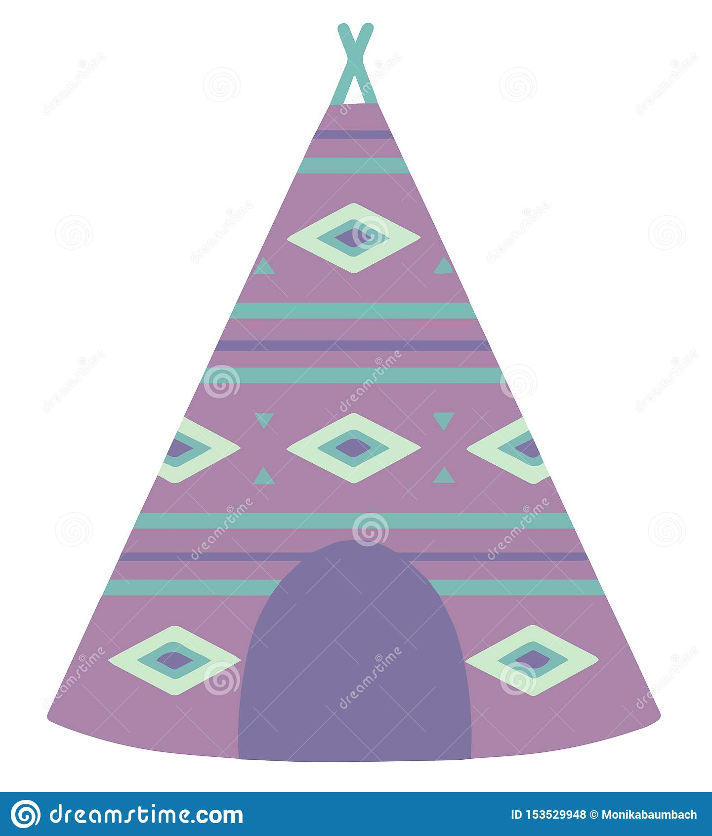 Illustration de vecteur de style de bande dessinée d une tente violette de tipi avec le modèle de Bohème d ethno
