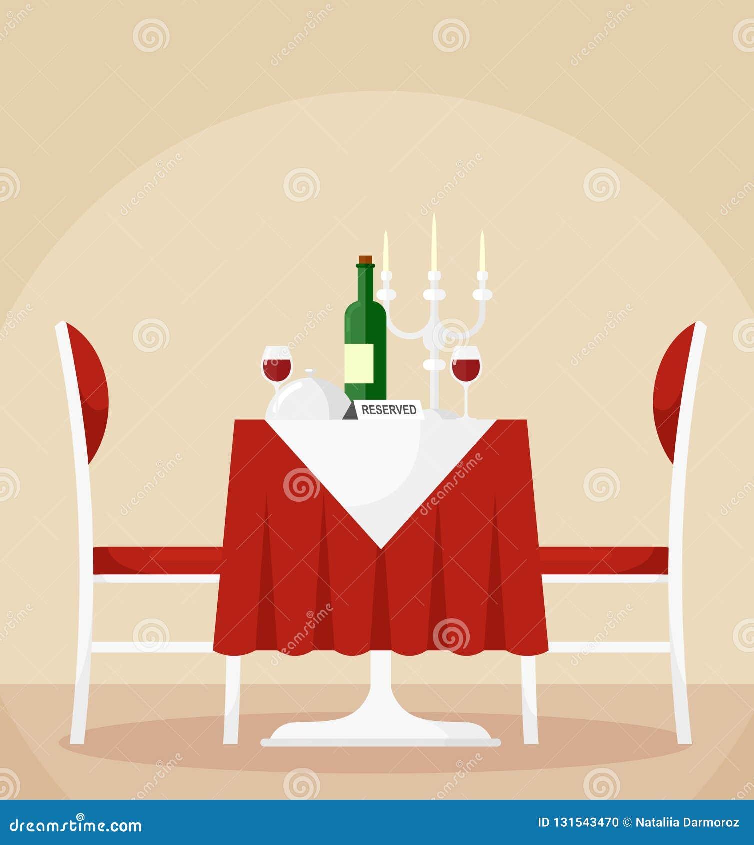 Beau Illustration De Vecteur De Table De Salle à Manger Et De Chaises Réservées Pour  Deux Personnes Avec La Bouteille De Vin, Verres, Bougies Concept Romantique  ...