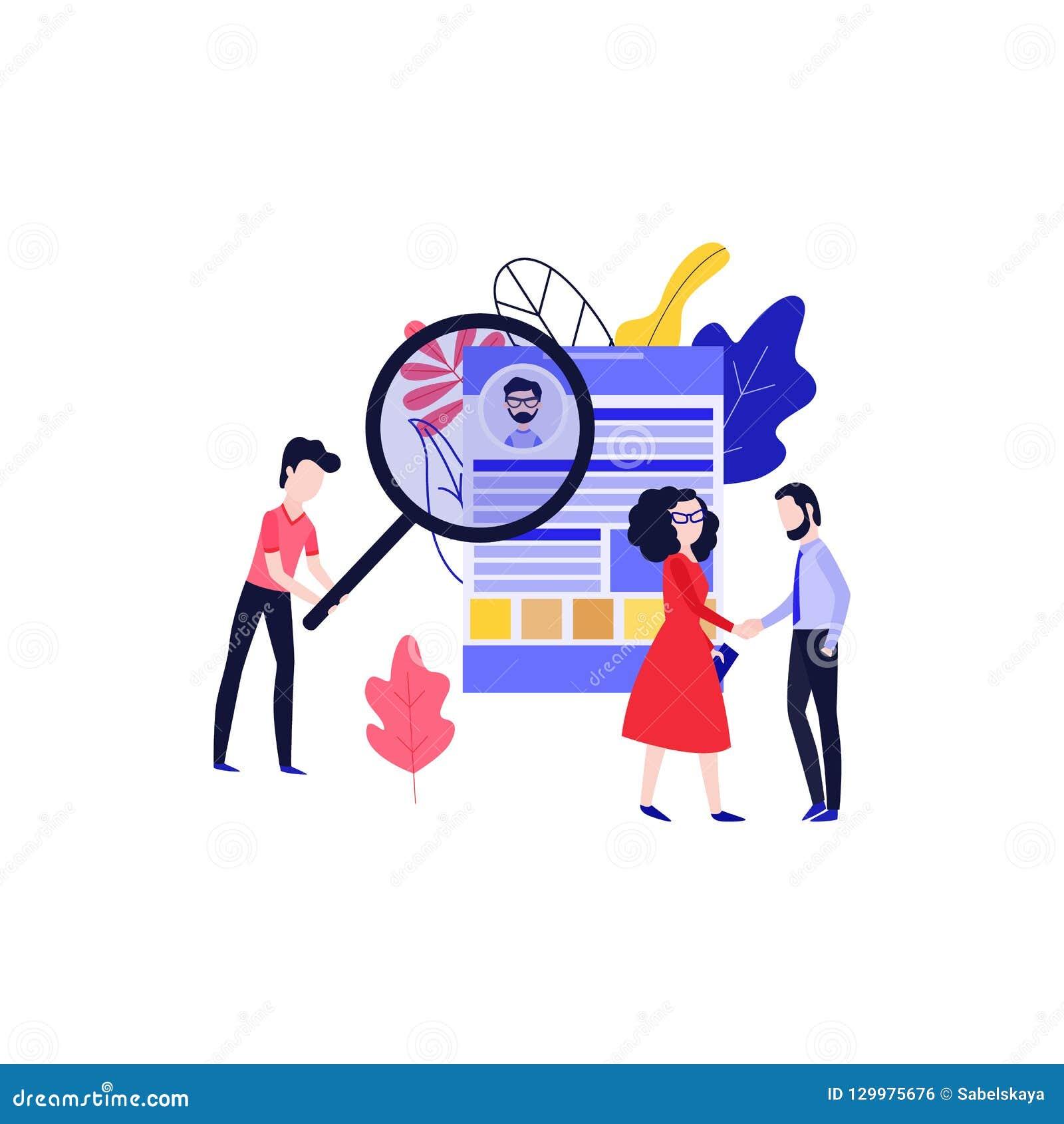 Illustration de vecteur de thème de recrutement et d entrevue