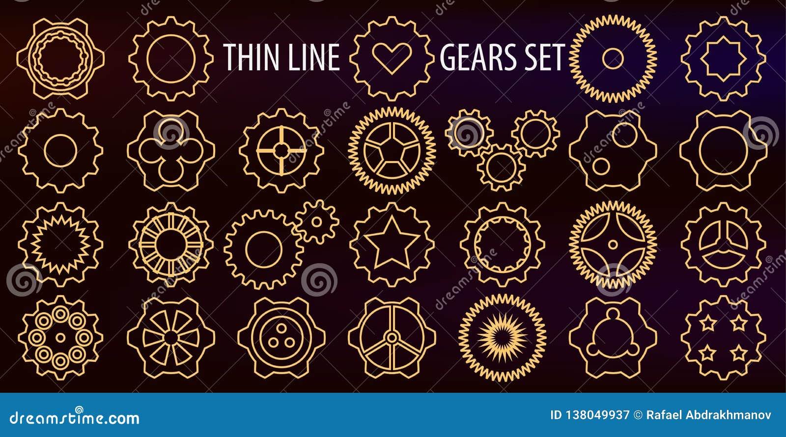 Illustration de vecteur Un ensemble d icônes sous forme de ligne mince vitesses comme symbole du machanica, du travail de moteur,