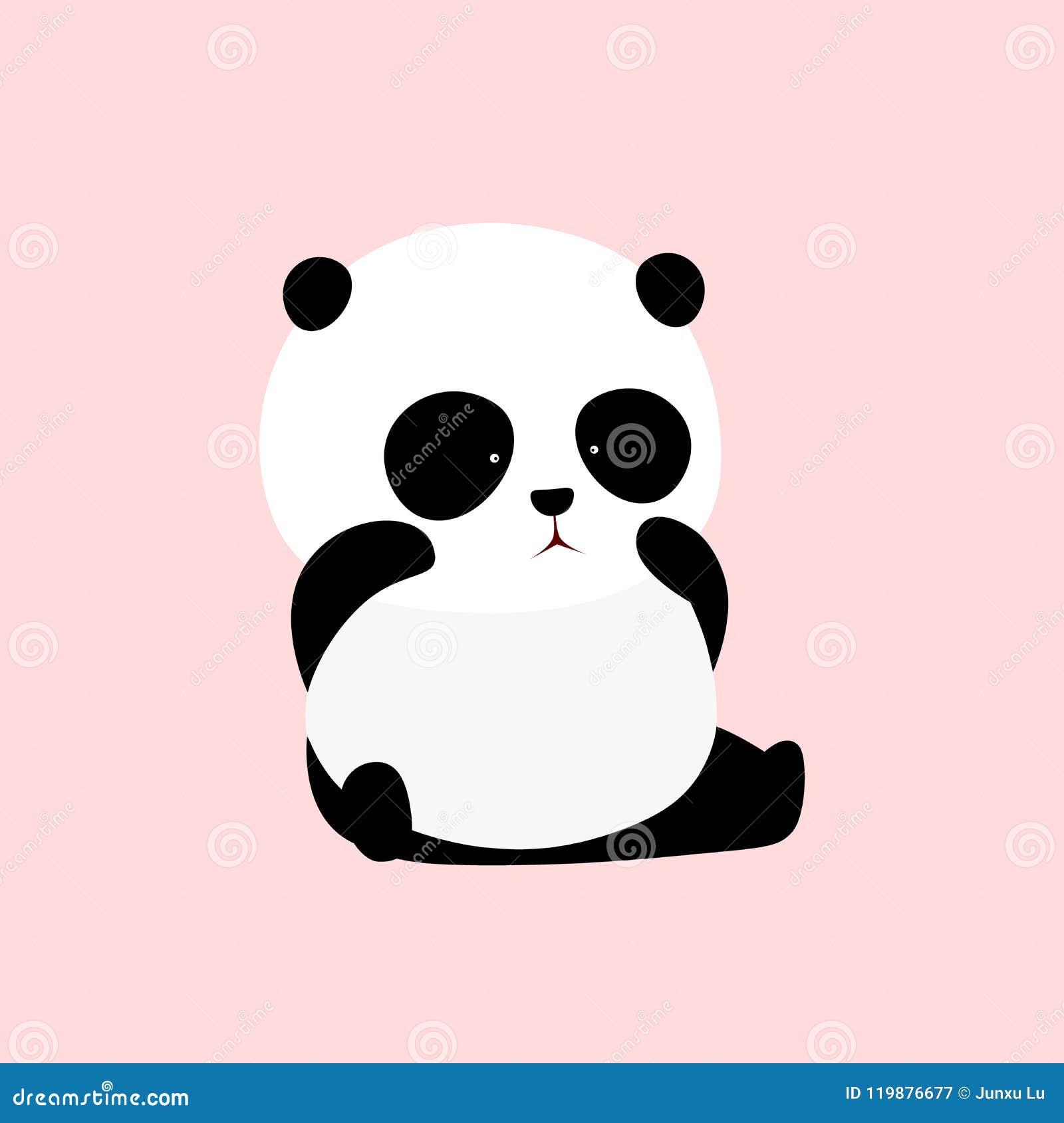 Illustration de vecteur : Un panda géant de bande dessinée mignonne se repose au sol, pleurant, les yeux de frottement, essuyant