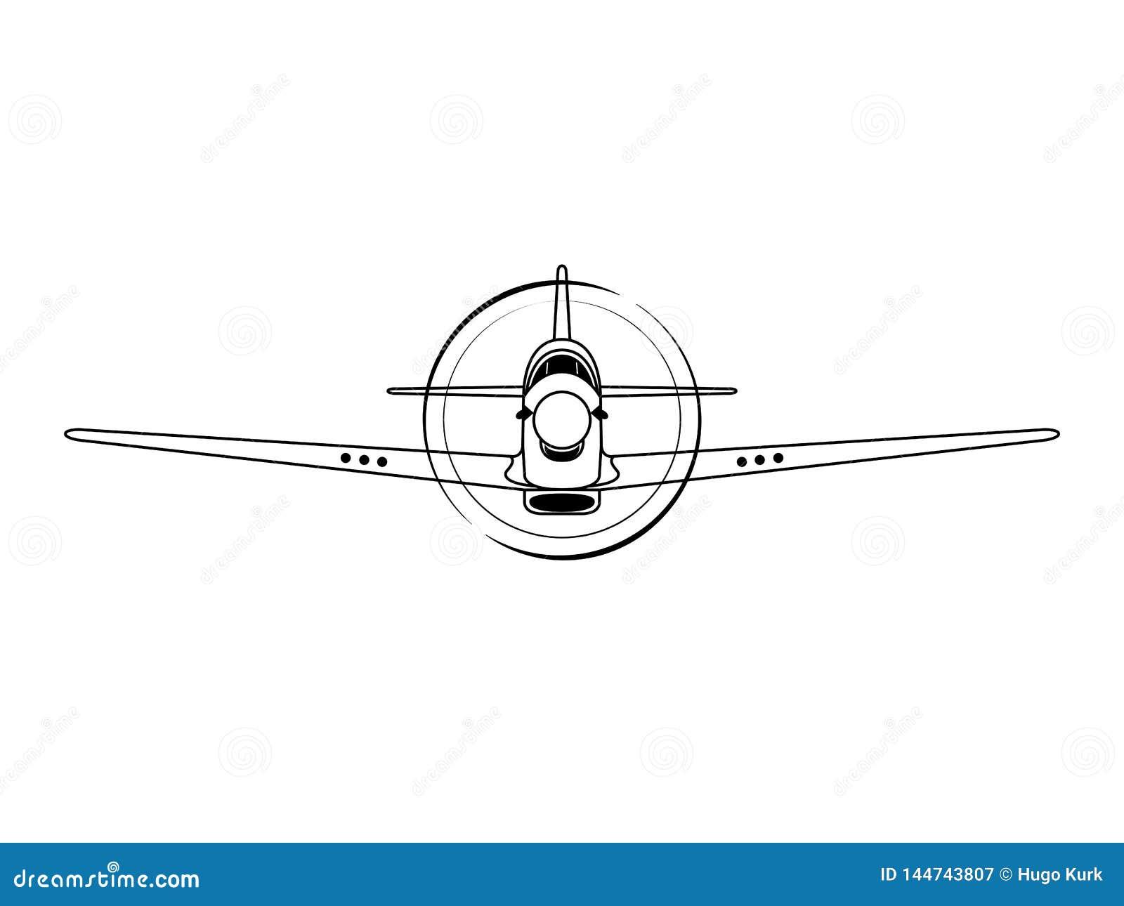 Illustration de vecteur de vue de face d avion de combattant