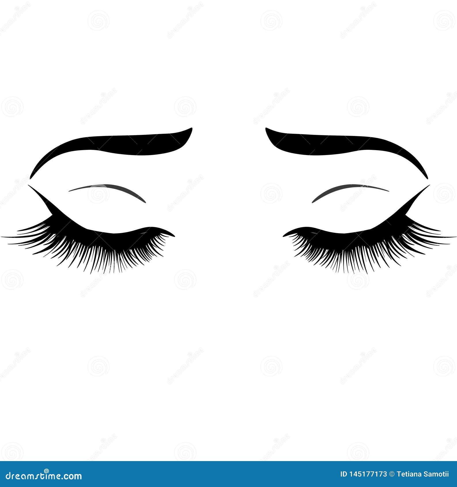 Illustration de Web avec les yeux, les sourcils et les cils de la femme Regard de maquillage Tatouage Design