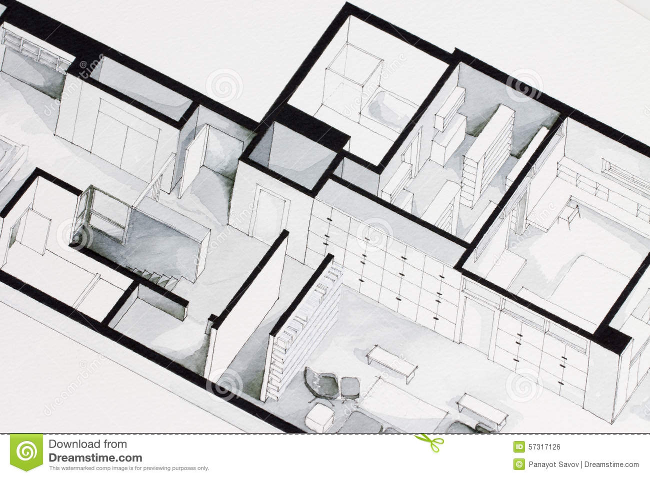 Illustration of deep elegant floor plan design apartment for Apartment stock plans